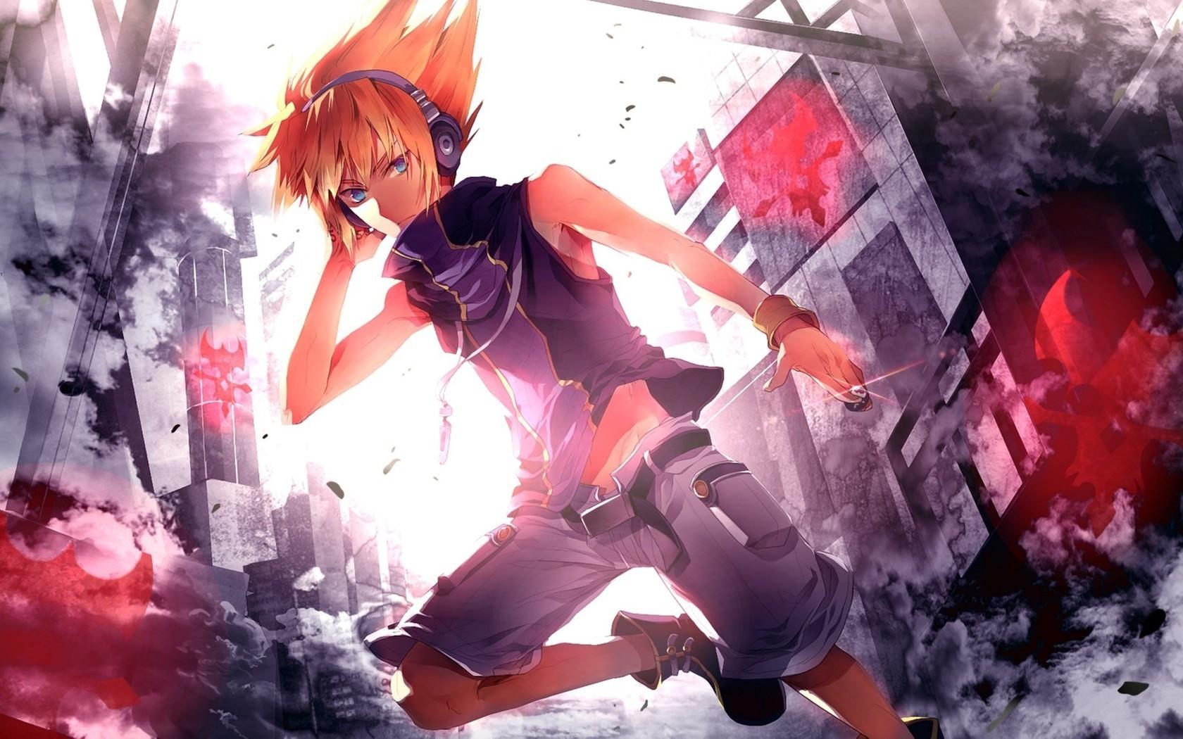 Wallpaper City Cityscape Anime Boys Headphones The World