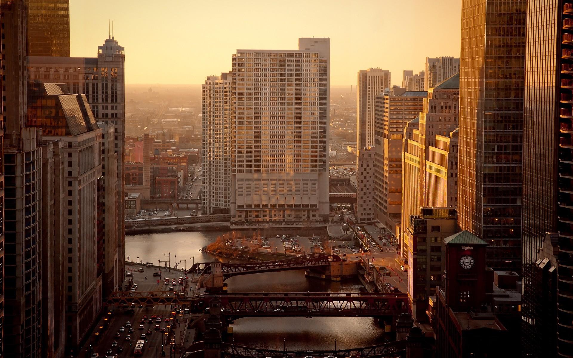 Обои чикаго, мосты, здания, chicago, сша, ночь, америка. Города foto 14