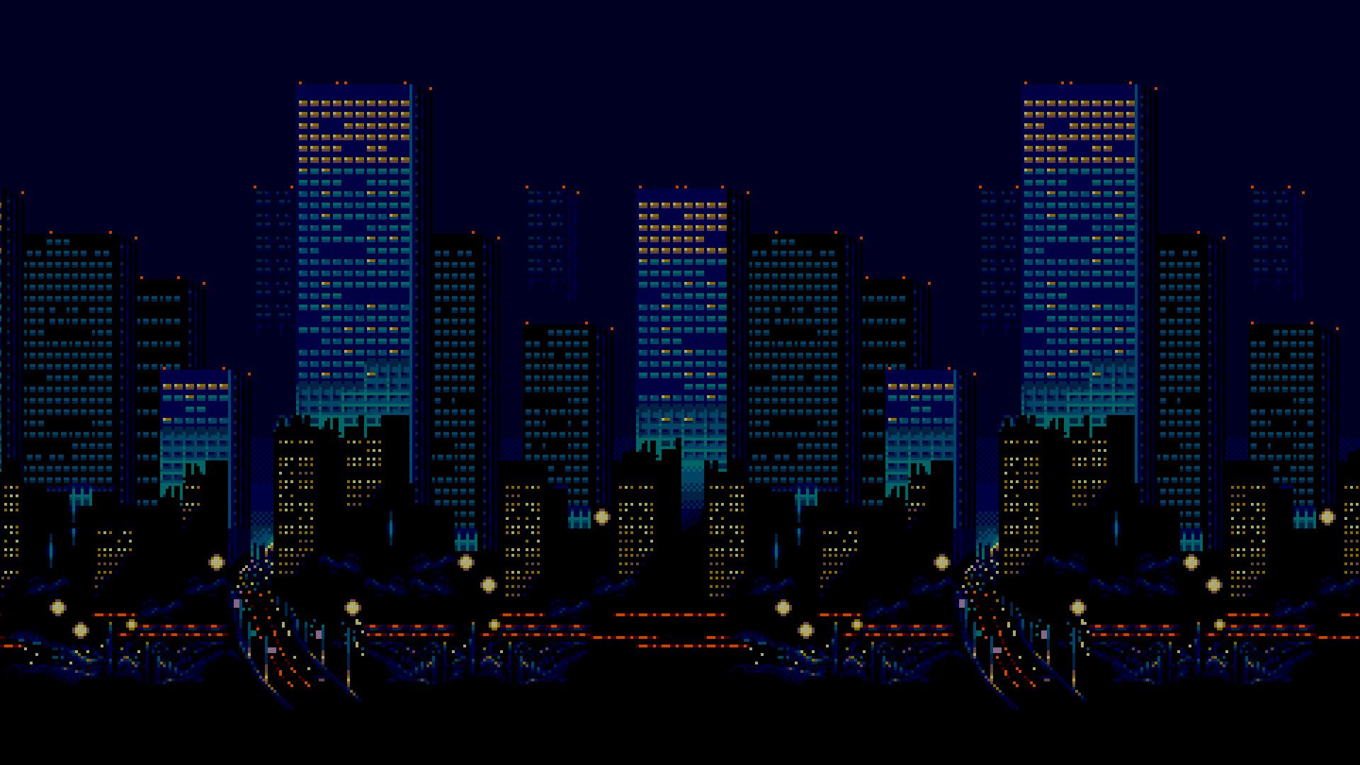 City Cityscape Night Pixel Art Urban Skyline Skyscraper 16 Bit Horizon Metropolis Sega Streets Of Rage