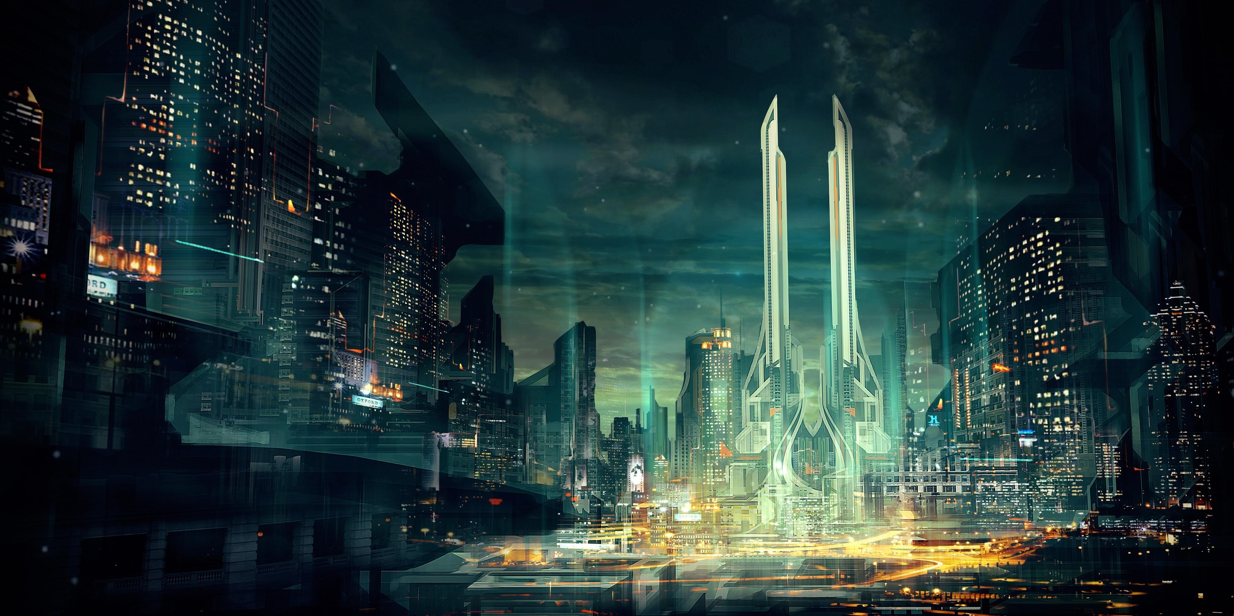 wallpaper : city, cityscape, night, reflection, futuristic, artwork