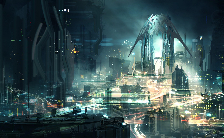 デスクトップ壁紙 シティ 都市景観 夜 反射 未来 アートワーク