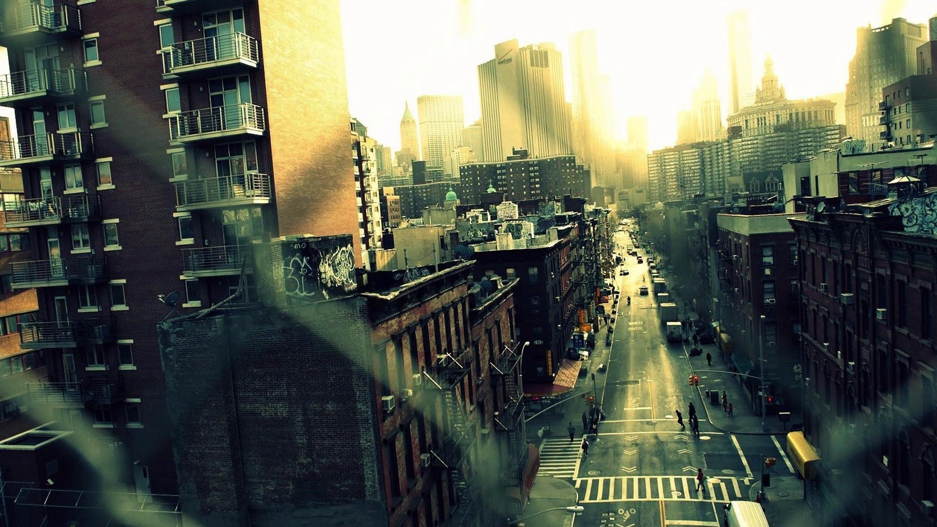Обои небоскребы, ночь, дома. Города