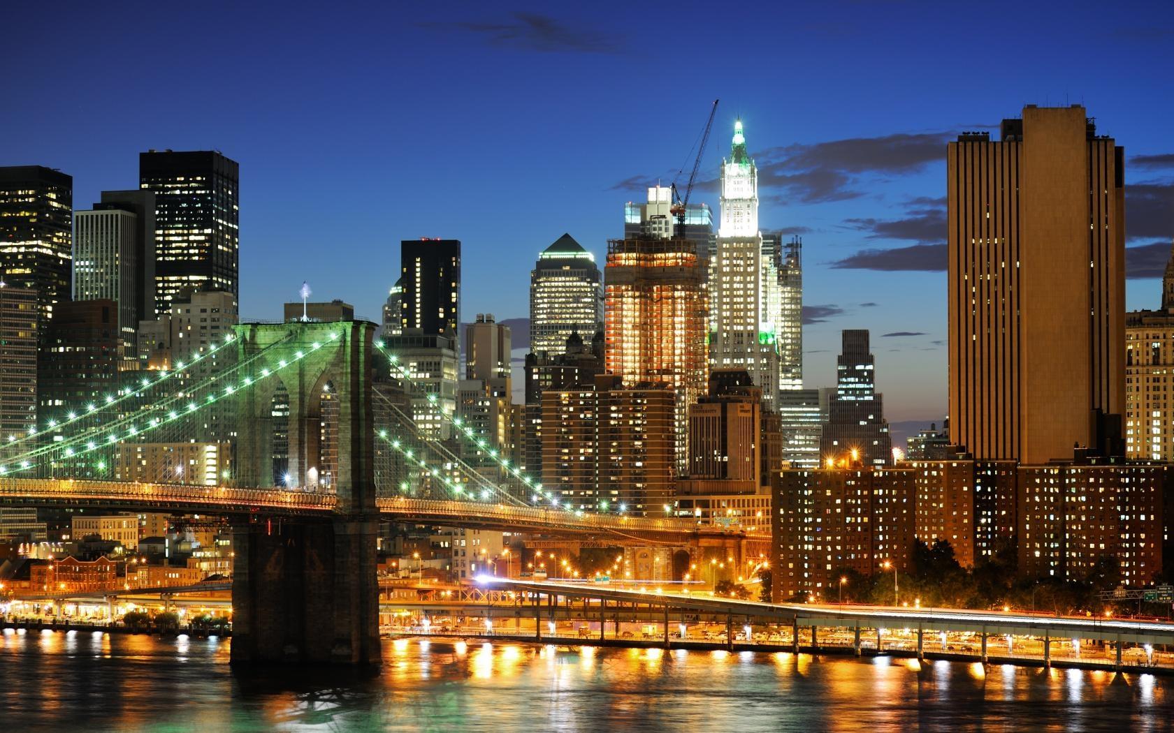 Обои огни, Город, Пейзаж, небоскребы, ночь. Города foto 10