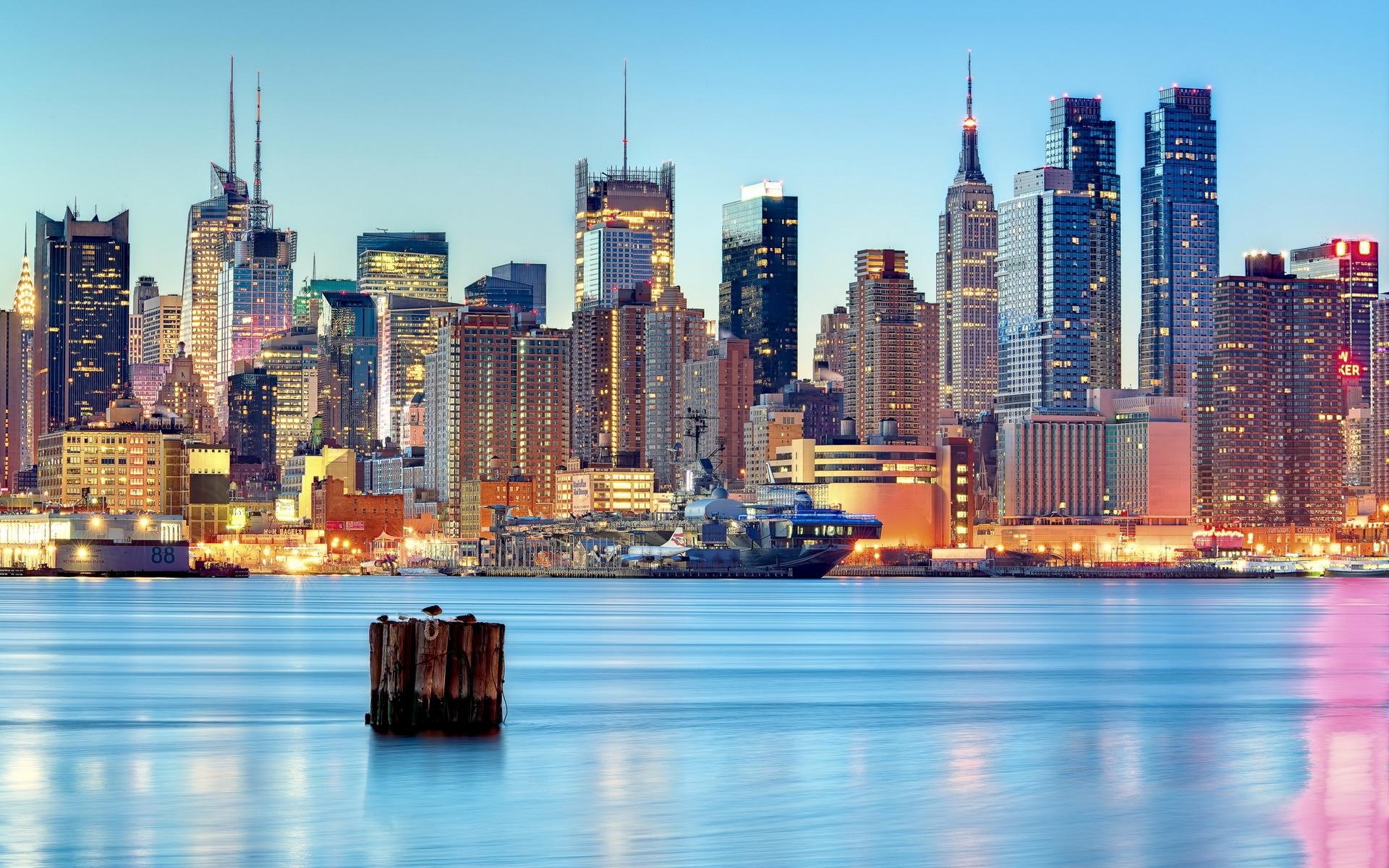 Wallpaper   City  Cityscape  Night  Reflection  Skyline
