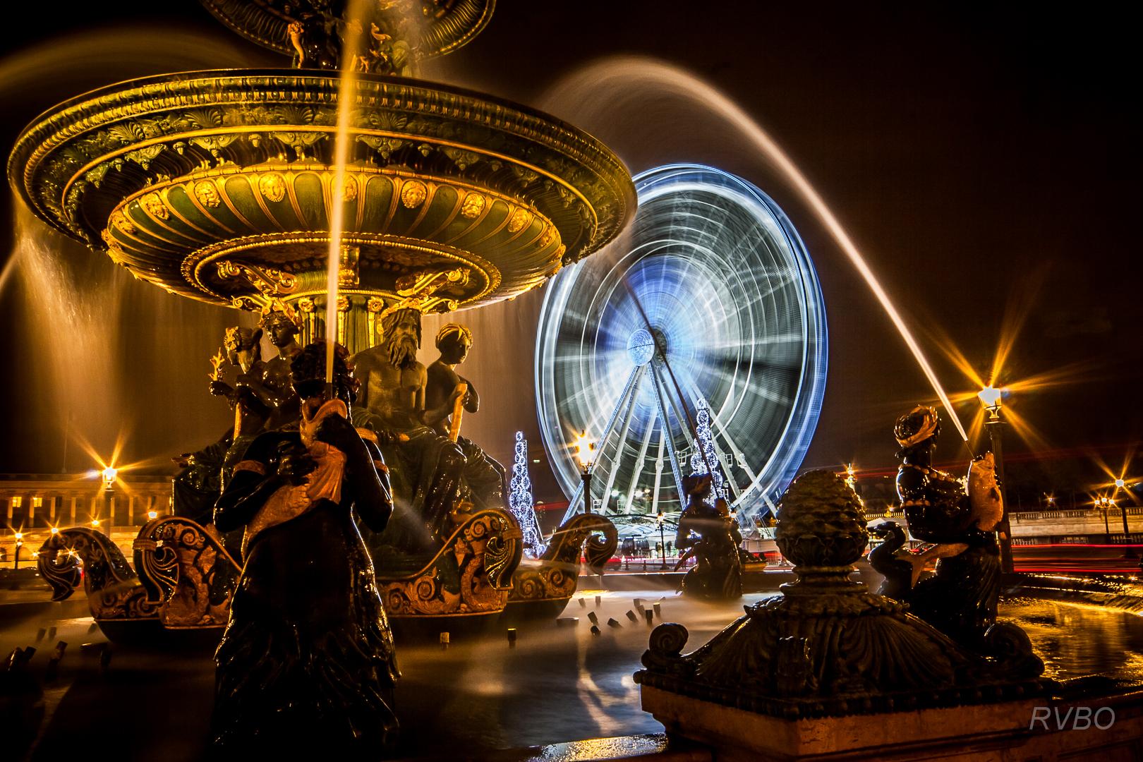 Sfondi città notte parigi metropoli fontana concorde