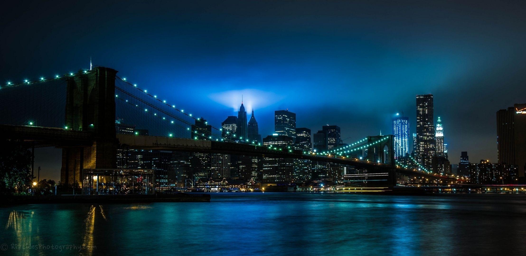 fond d 39 cran ville nuit lumi res rivi re pont brooklyn new york 2216x1080 1060293. Black Bedroom Furniture Sets. Home Design Ideas