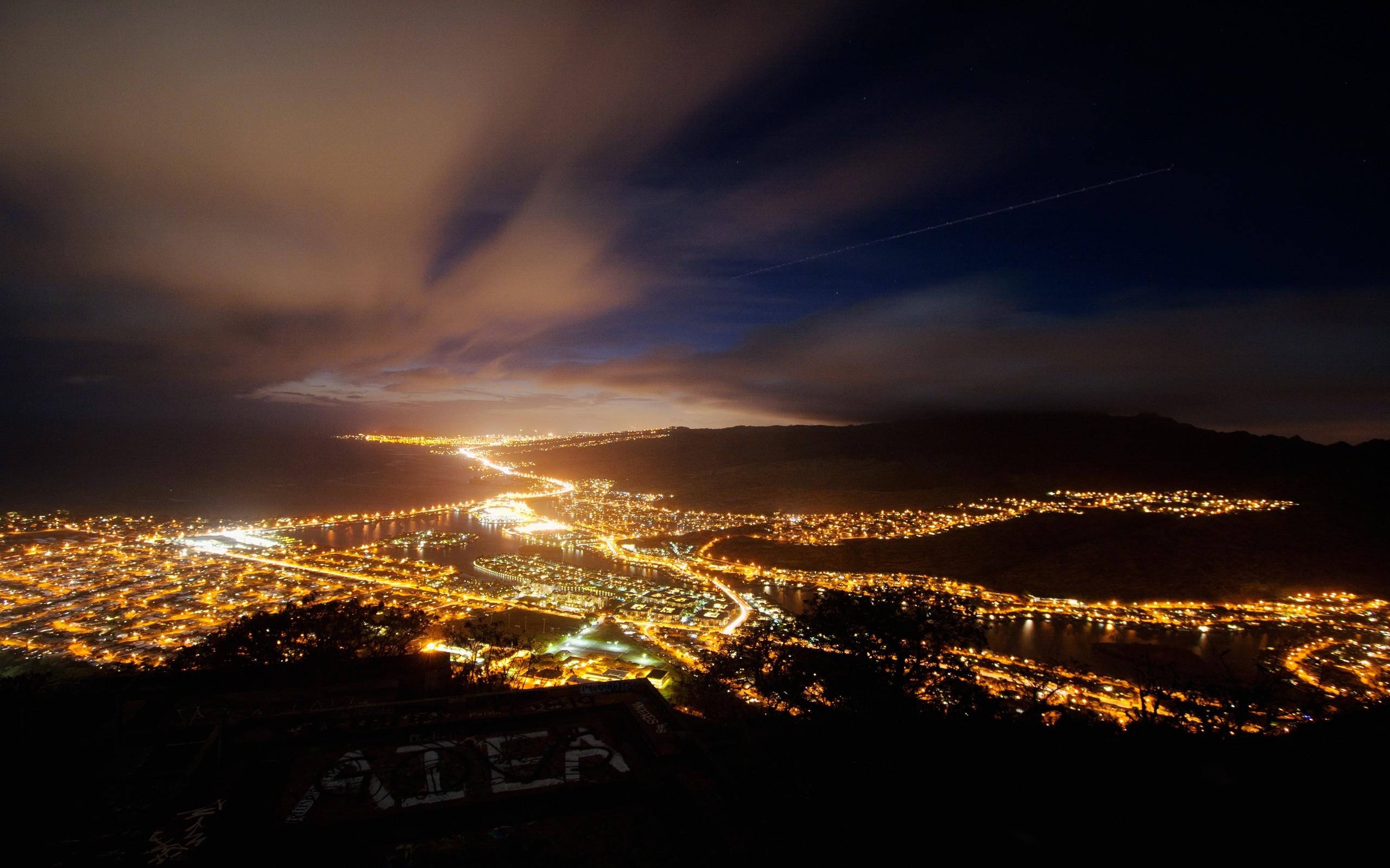 Wallpaper city night lights top view sky 2560x1600 coolwallpapers 678691 hd - Light night wallpaper ...