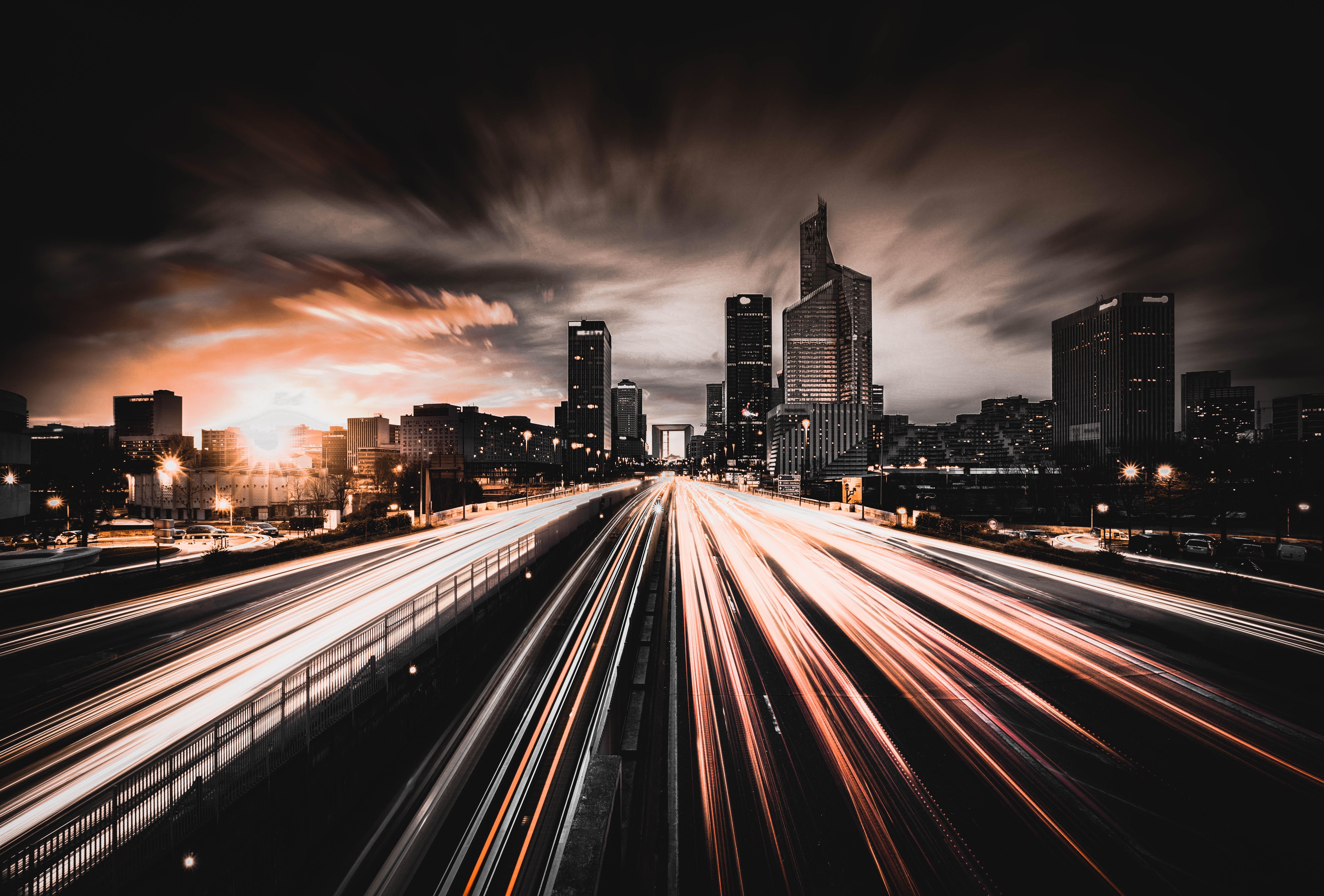 Картинка ночной город на рабочий стол дорога