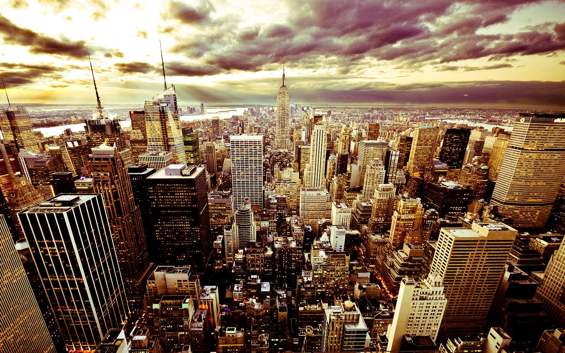 City Night Sky Clouds America USA New York Skyscrapers Buildings Beautiful