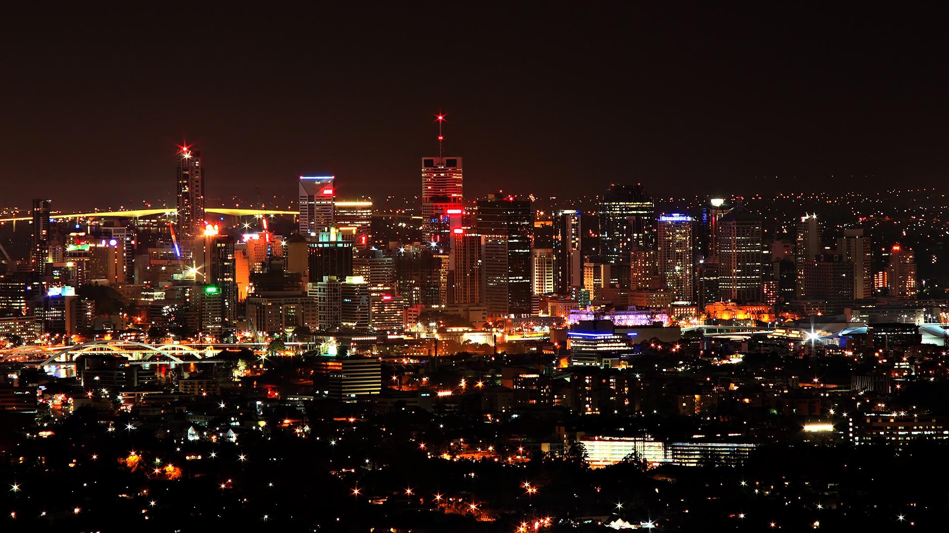 Обои огни, Город, Пейзаж, небоскребы, ночь. Города foto 14