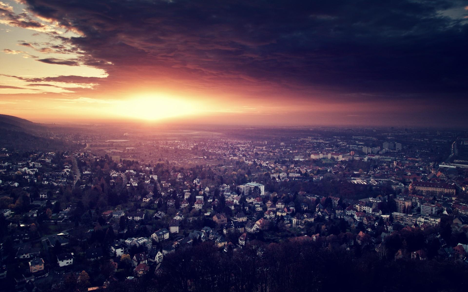 City Night Top View Light Sky