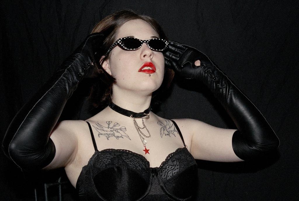 Long black leather opera gloves