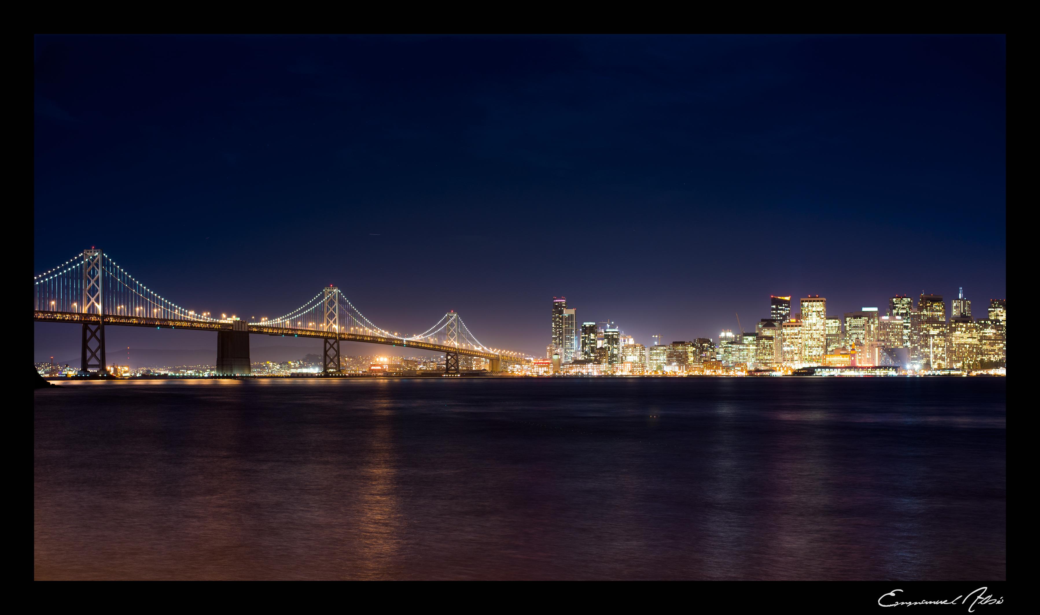 Wallpaper City Sea Skyline Night Puente Lights Noche