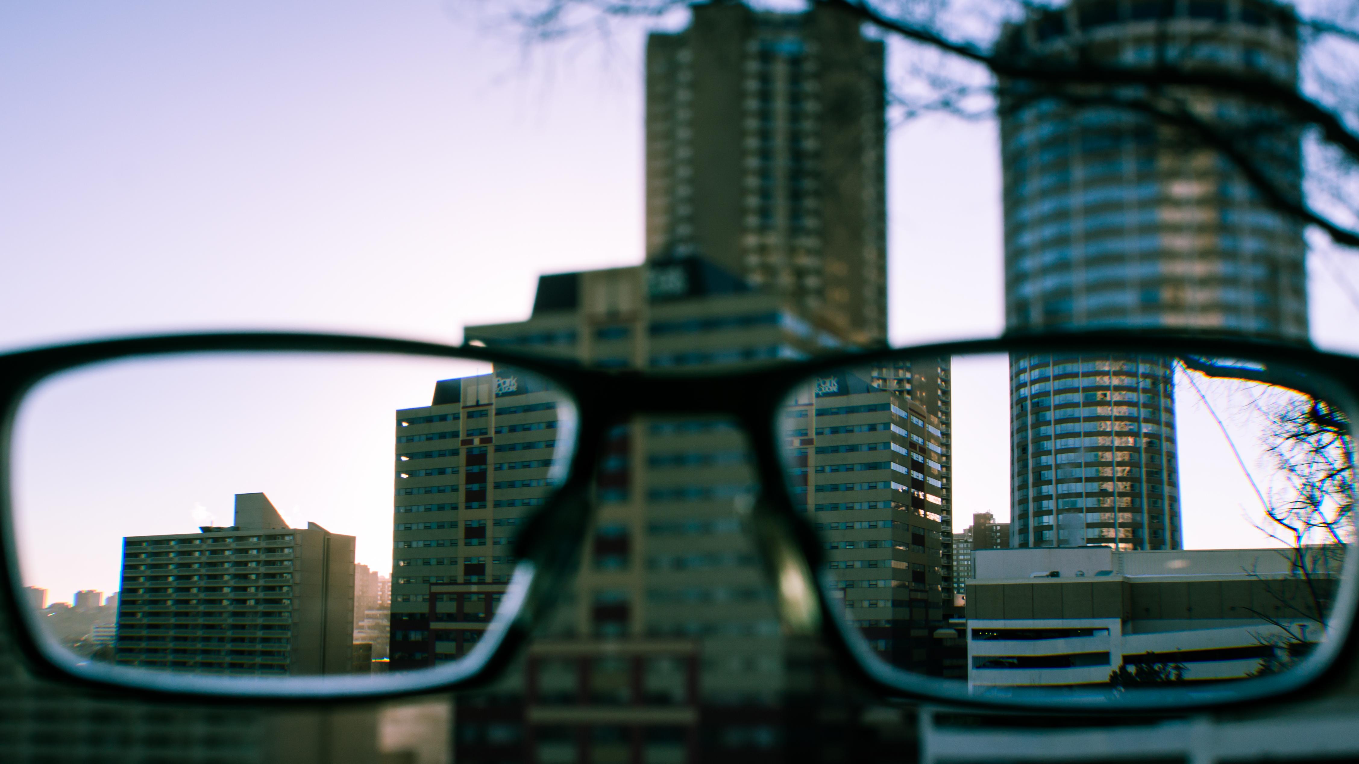Wallpaper City Skyline Buildings Lens Glasses Blurry