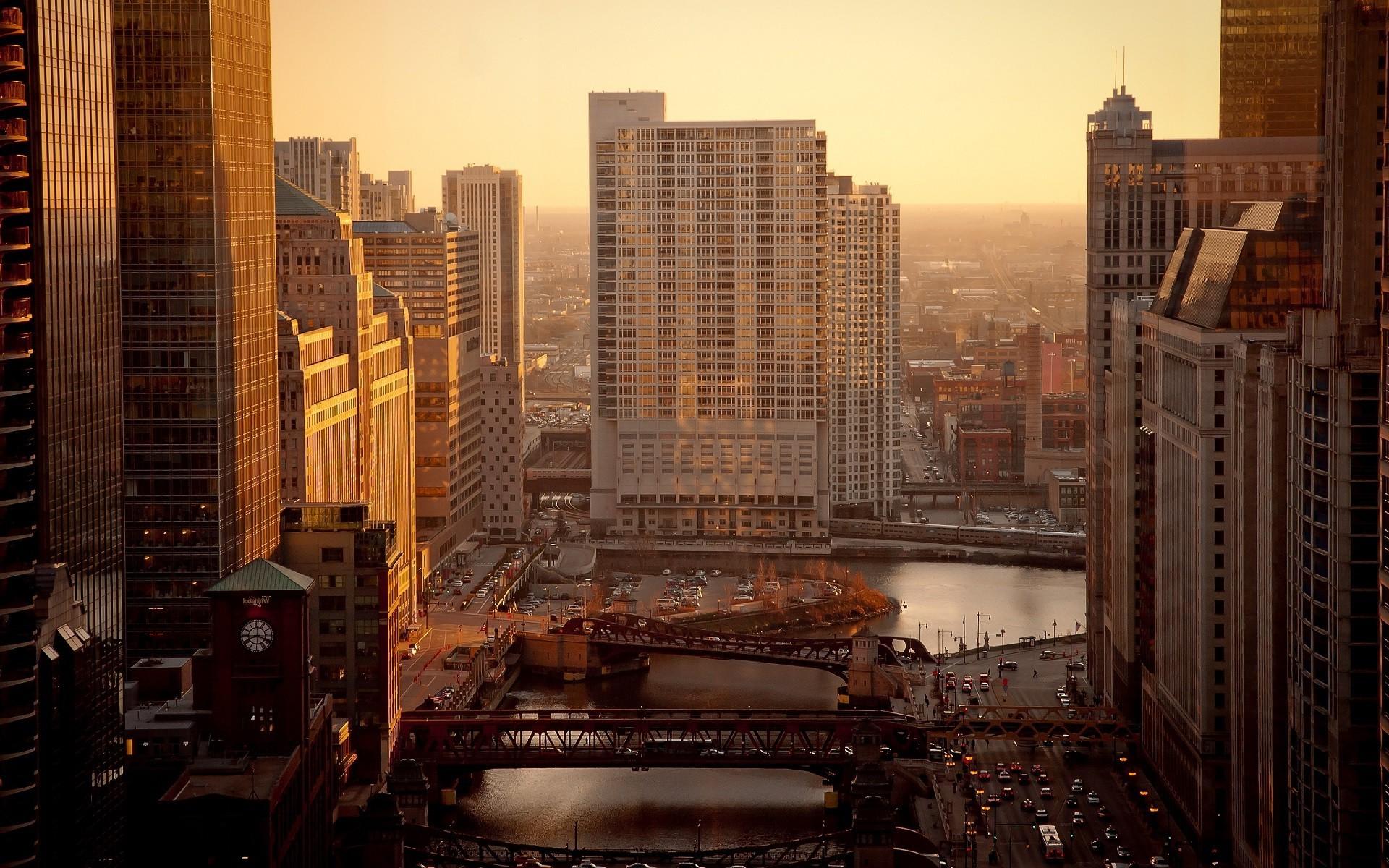 City Street Cityscape Night Car Building Road Sunrise Skyline Skyscraper Evening Morning Bridge River USA Chicago