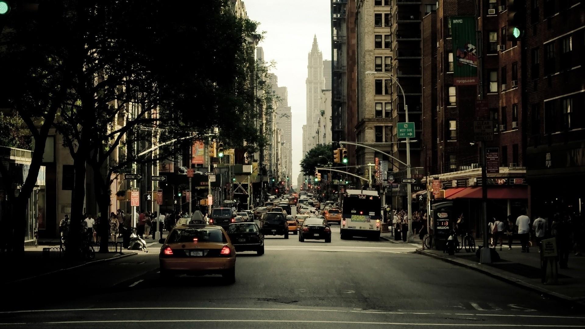Wallpaper Jalan Cityscape Malam Kota New York Lalu Lintas