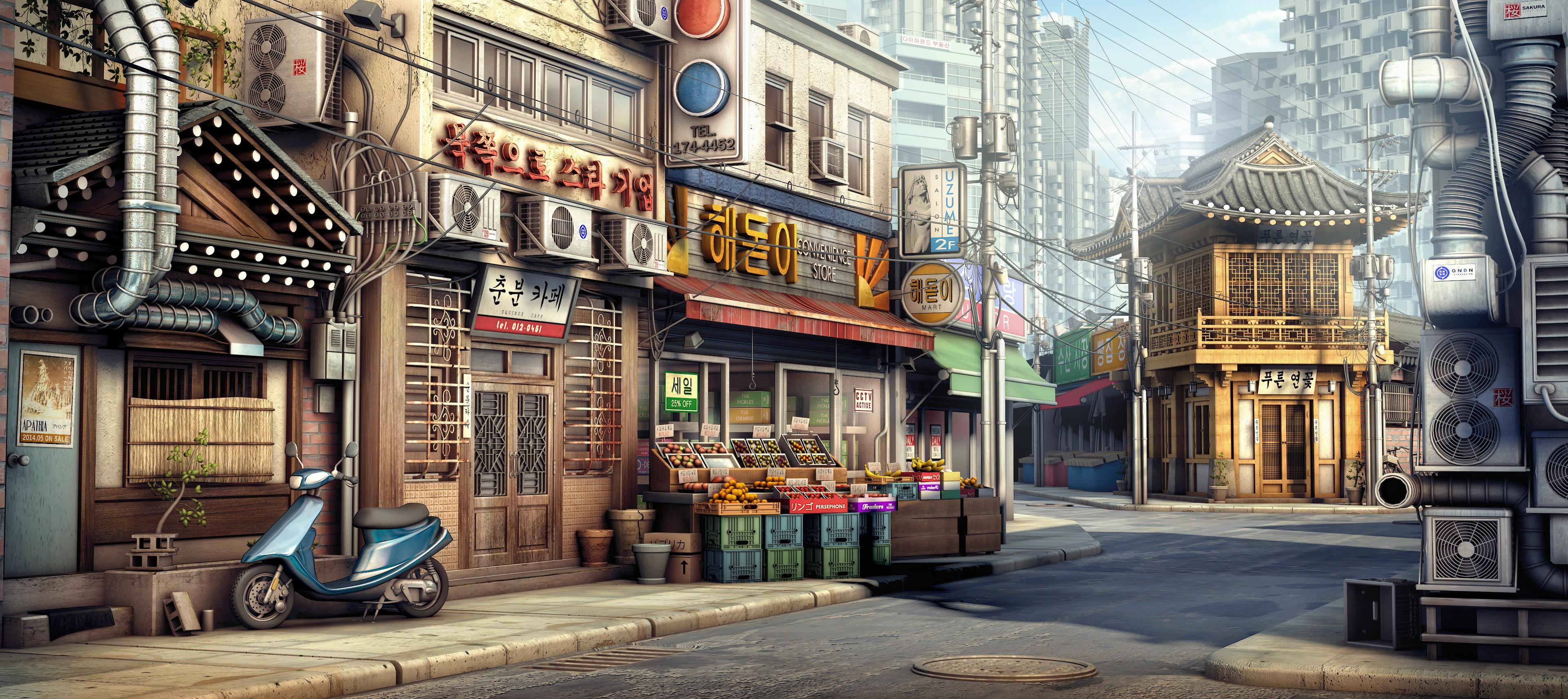 Wallpaper : City, Street, Cityscape, Road, Town, Korean