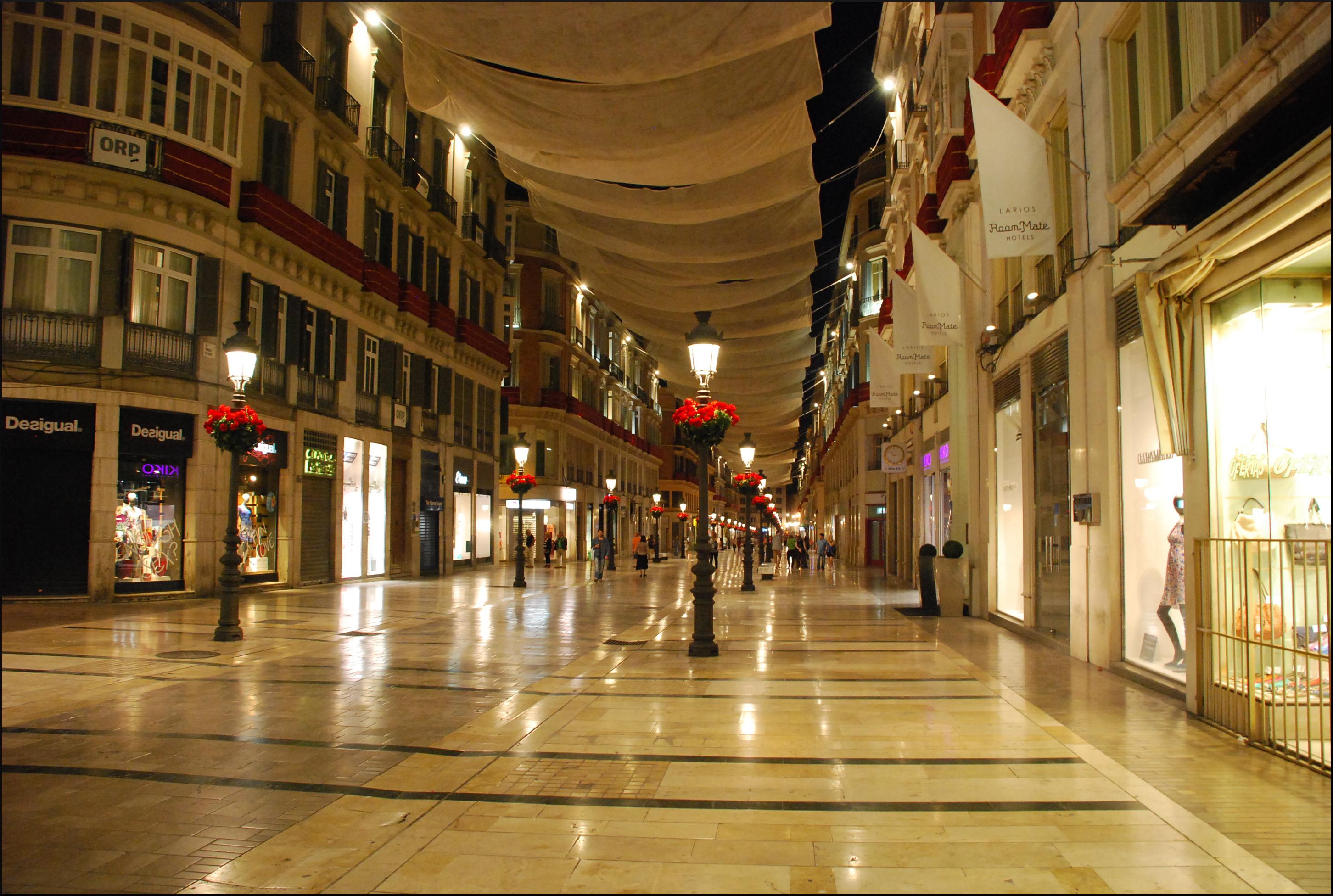Обои ночь, Malaga city, spain. Города foto 16