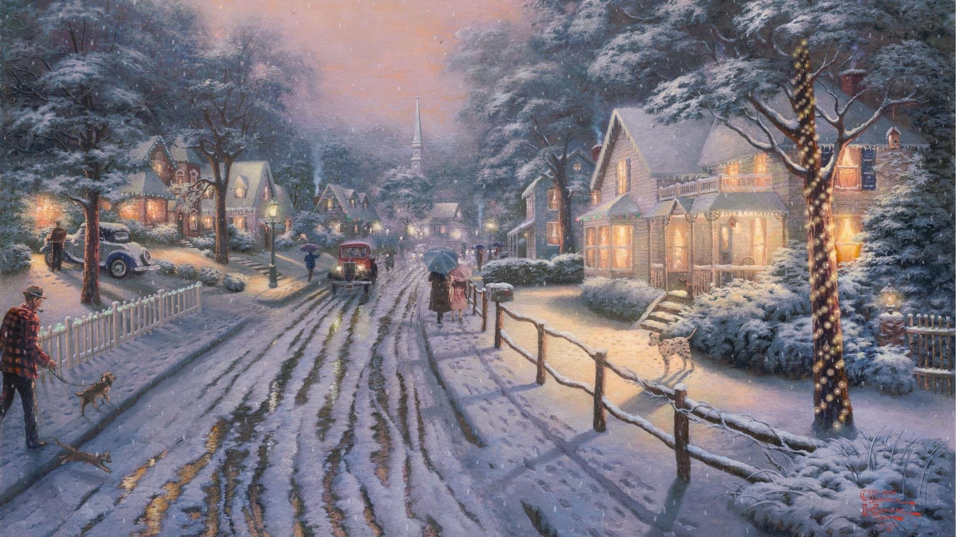 City Street Snow Winter Frost Autumn Weather Season Residential Area