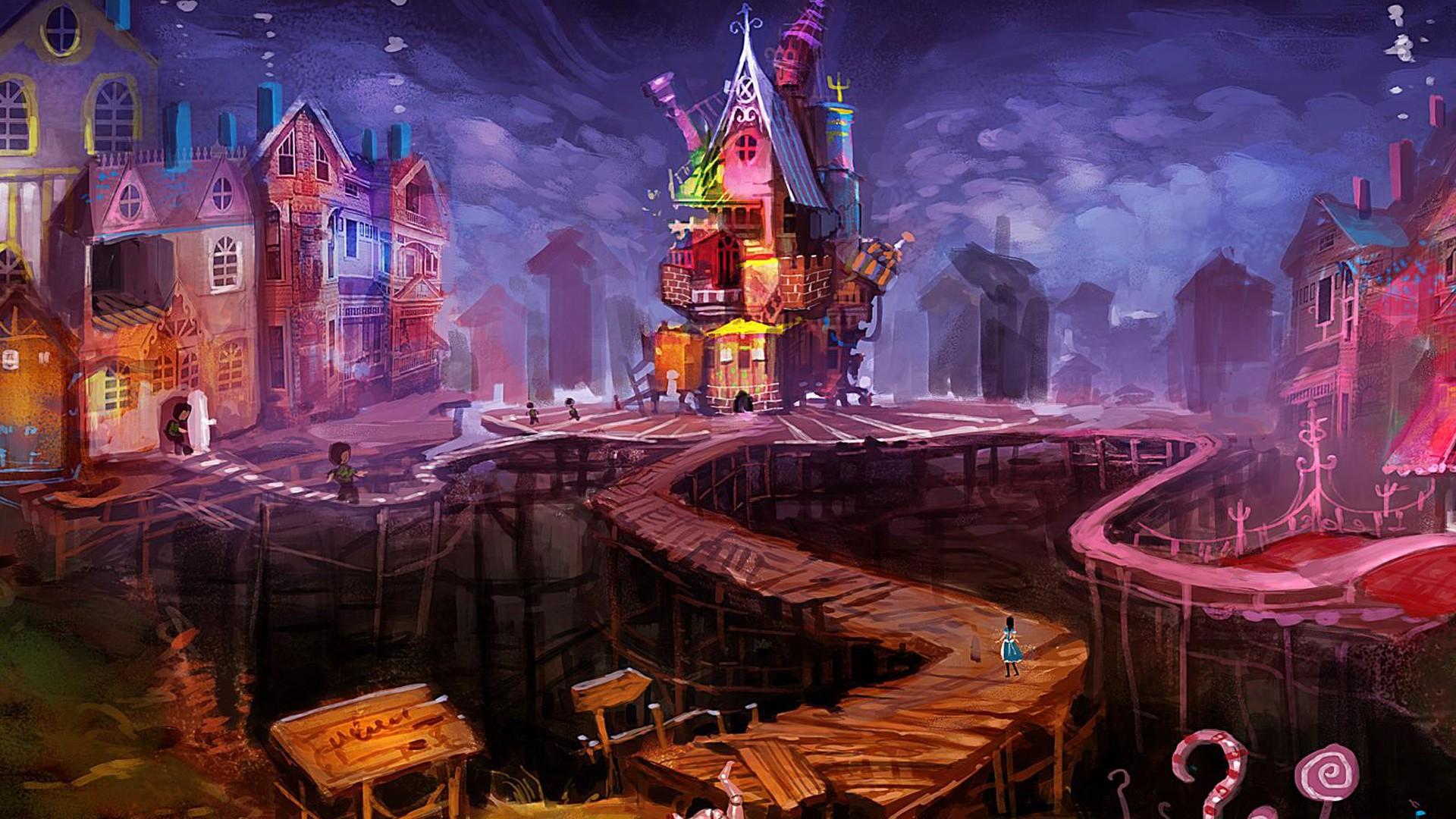 デスクトップ壁紙 都市景観 不思議の国のアリス 大都市 真夜中
