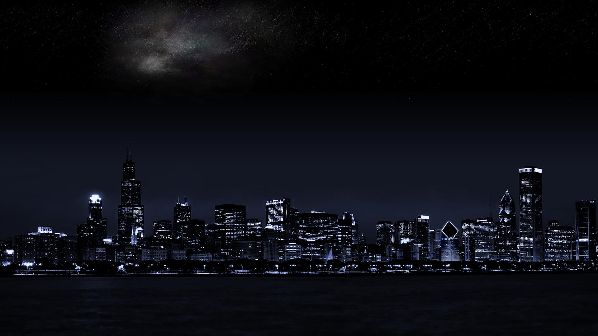 Wallpaper Cityscape Chicago City Urban Skyline Night