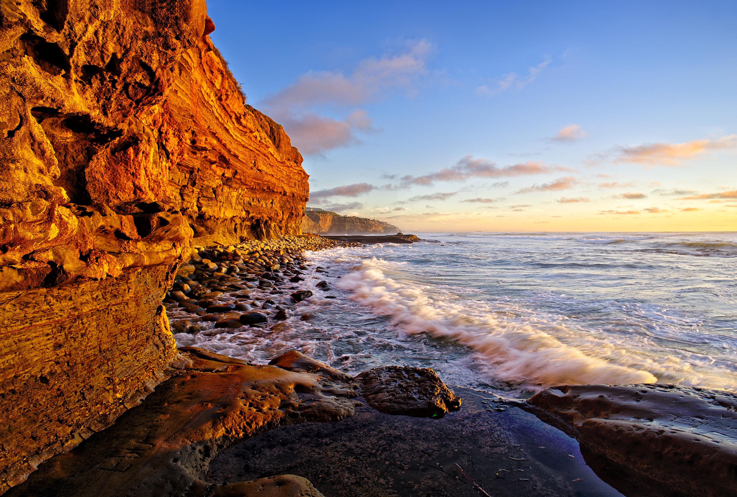 Wallpaper Cliff Sunset Sunsetcliffs Sandiego Tidepool 2983x2011 813465 Hd Wallpapers Wallhere
