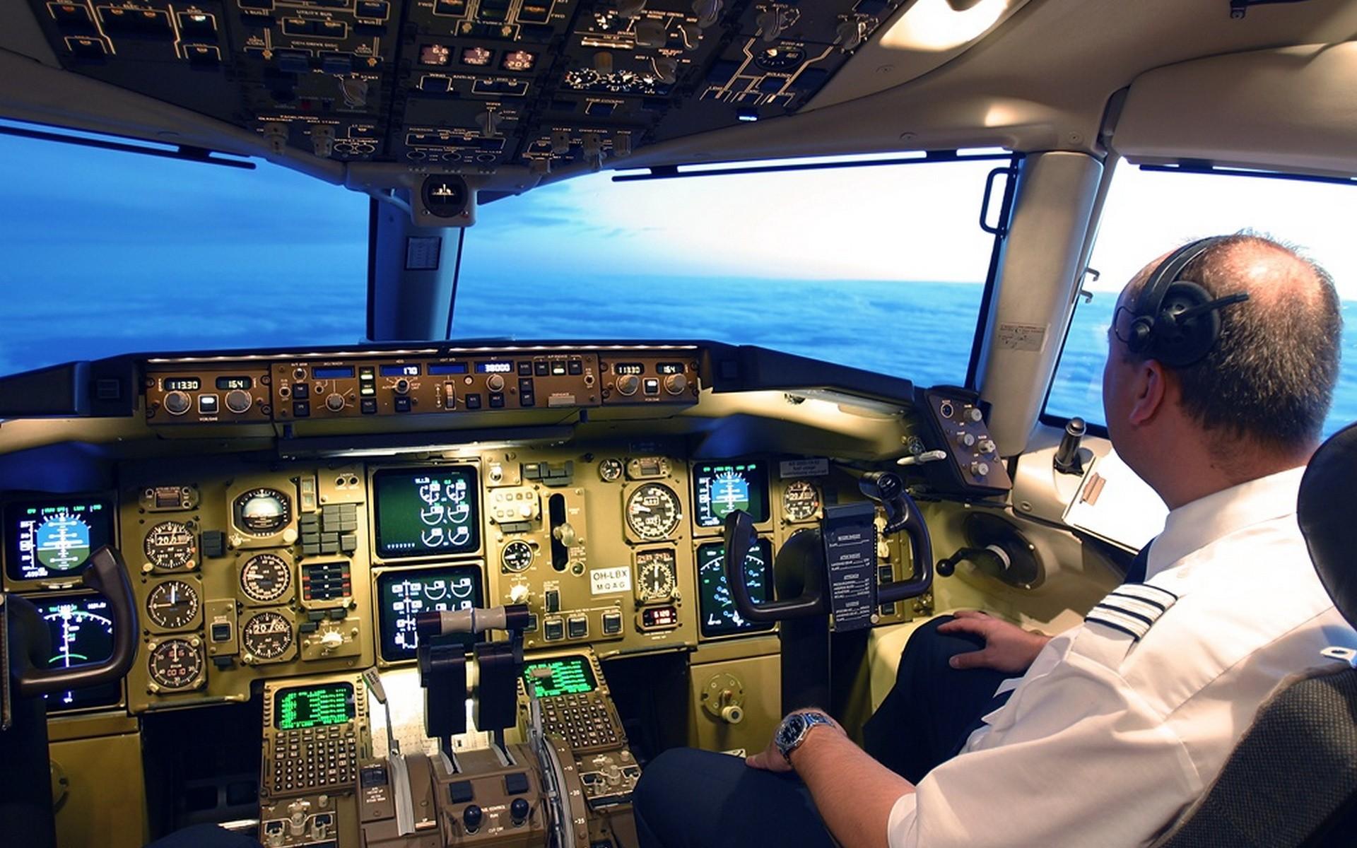 Wallpaper Clouds Airplane Pilot Person Cockpit Air