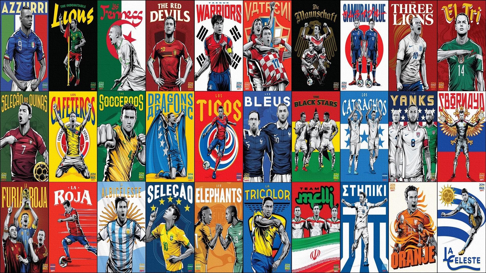 Wallpaper Kolase Sepak Bola Negara Piala Dunia FIFA