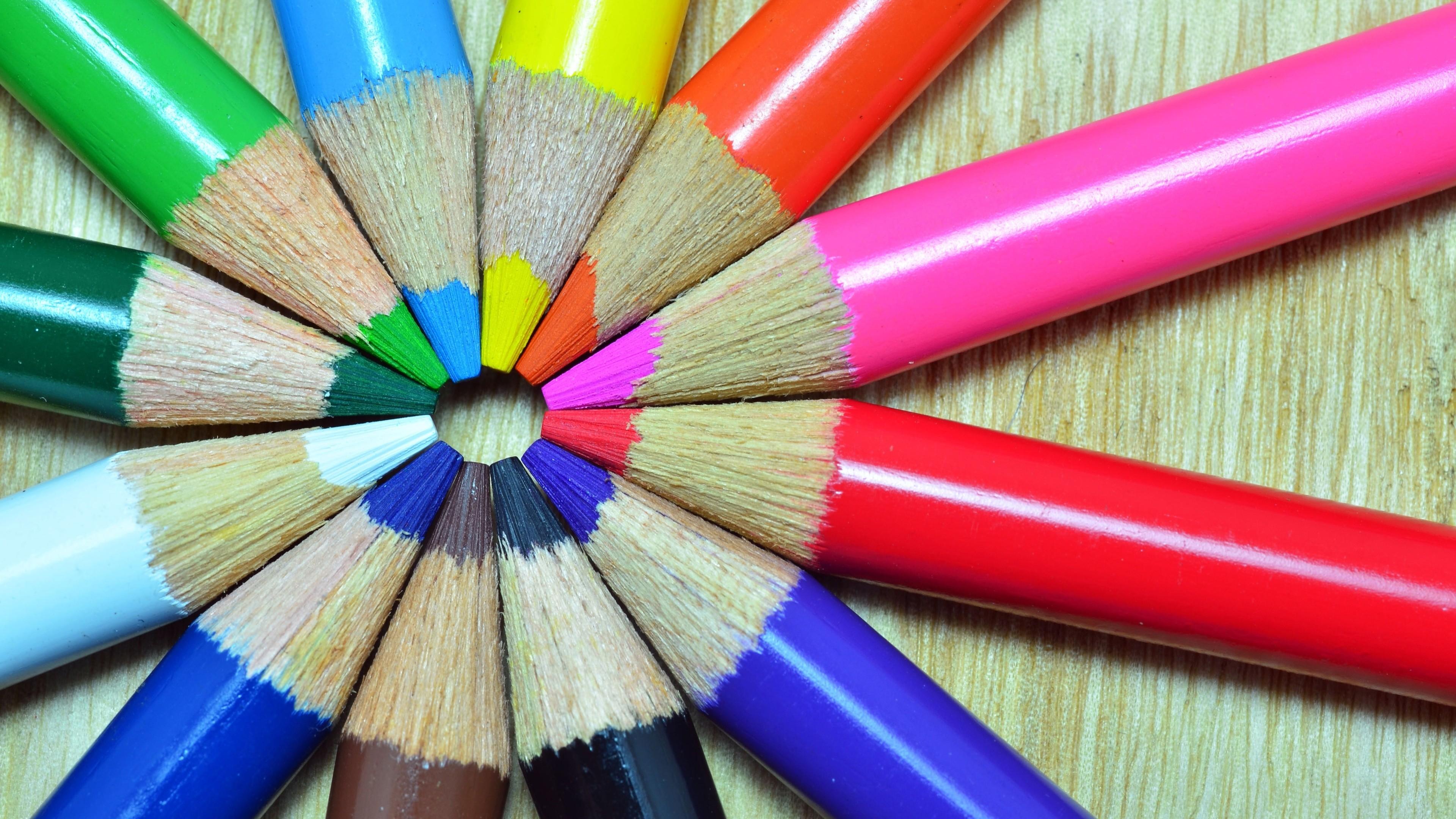 wallpaper colorful crayons art color wheel pencil 3840x2160