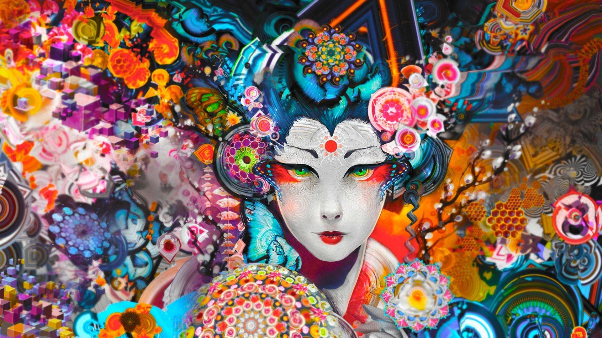 wallpaper colorful digital art geisha carnival art color