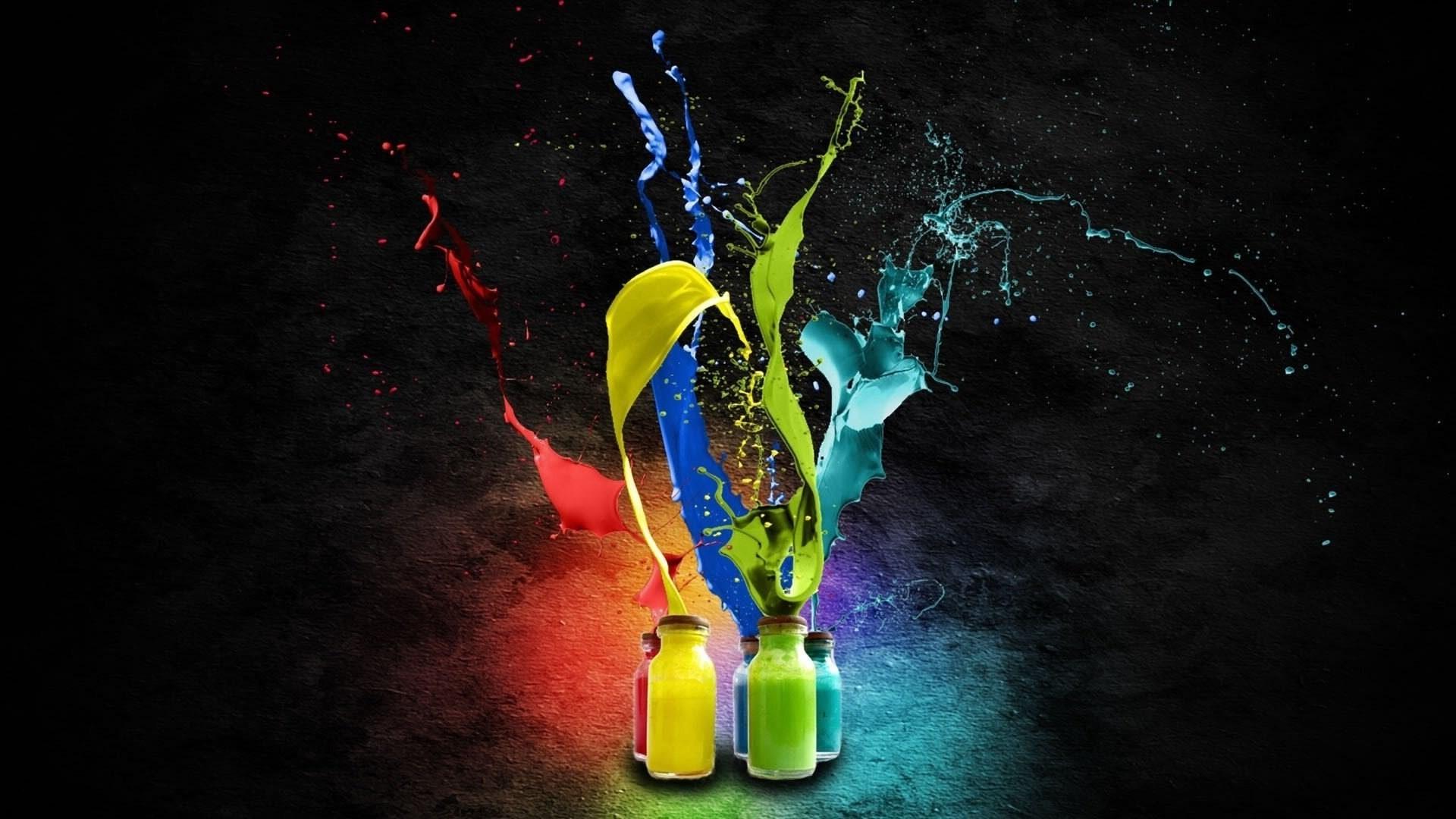 Colorful Digital Art Simple Background Black Night Bottles Space Texture Paint Splatter Splashes Light Color