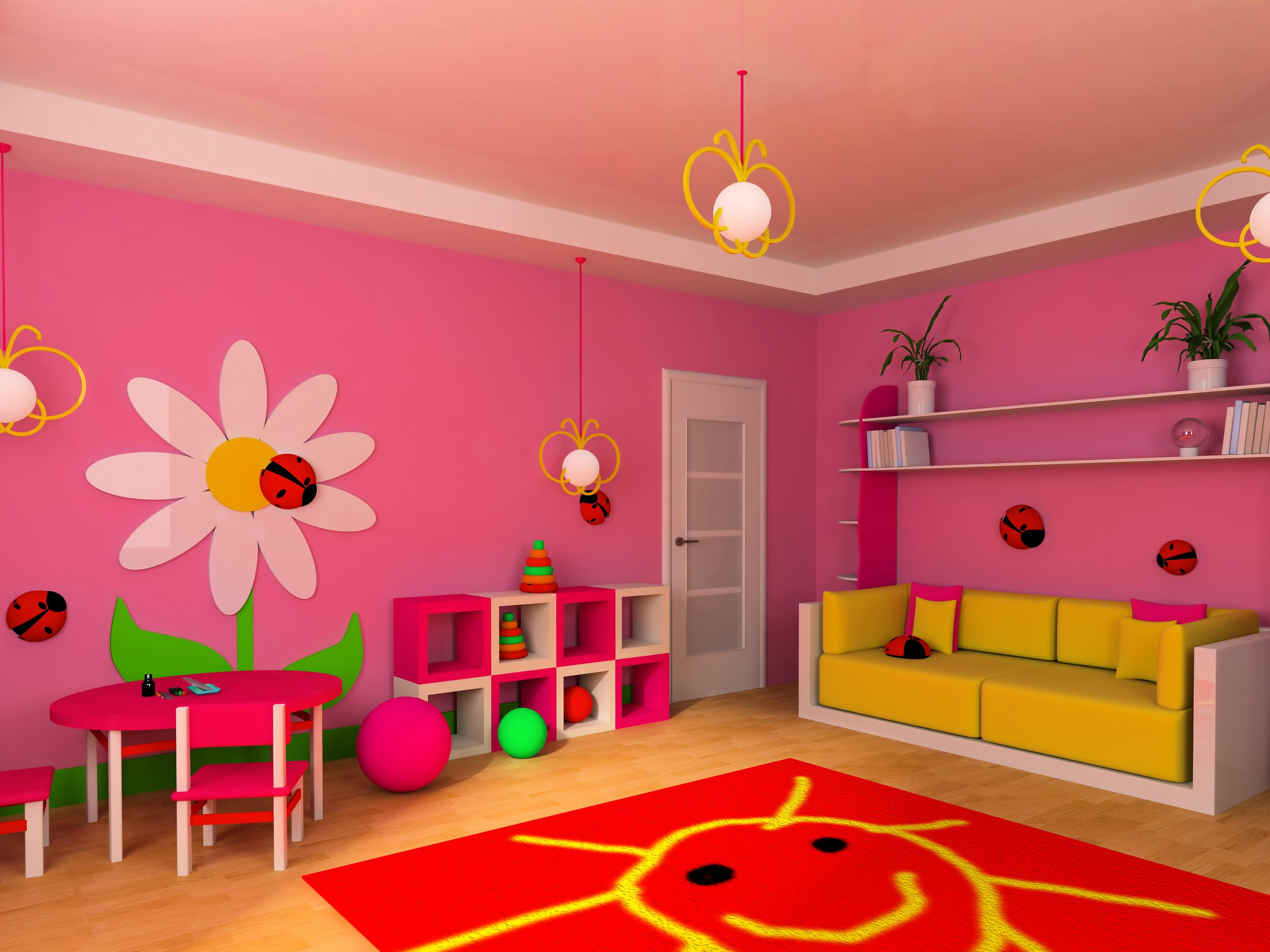 Fond d\'écran : Coloré, fleurs, chambre, jaune, rose, content, ballon ...