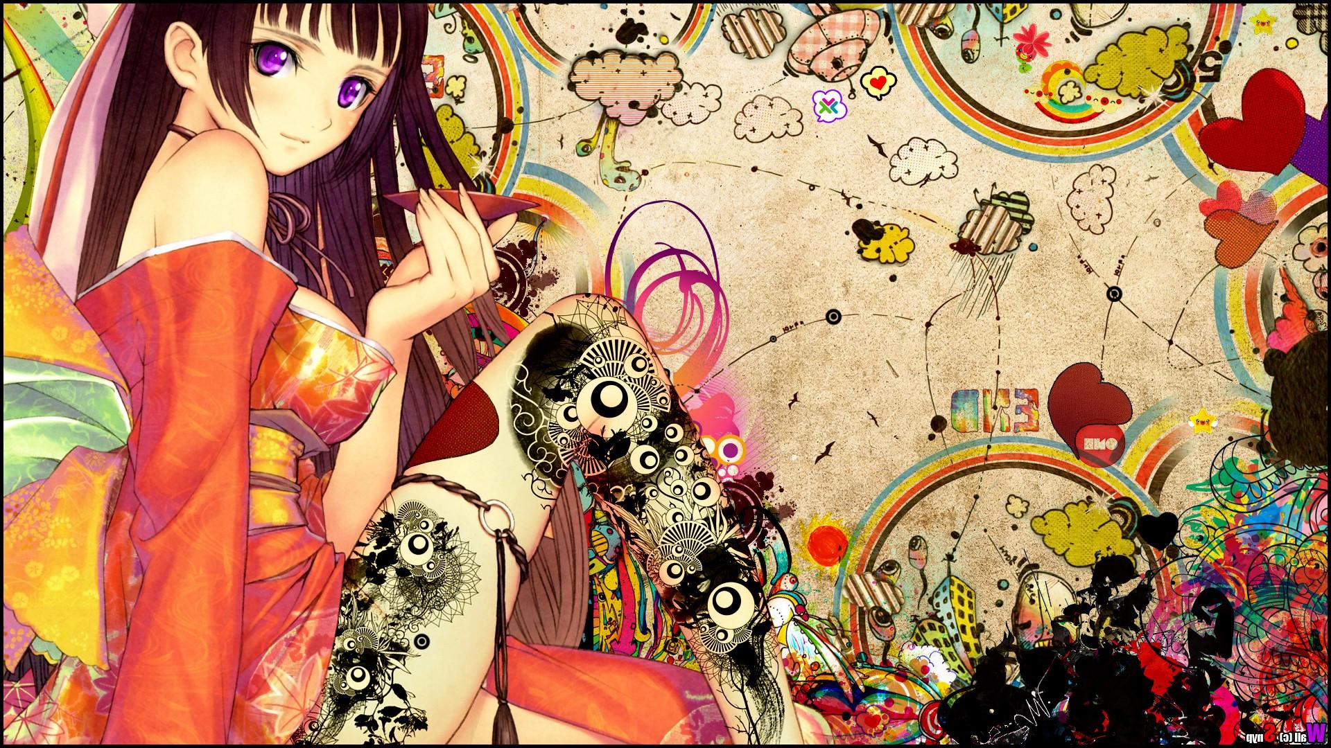 Wallpaper : colorful, illustration, anime girls, kimono, Tony Taka ...