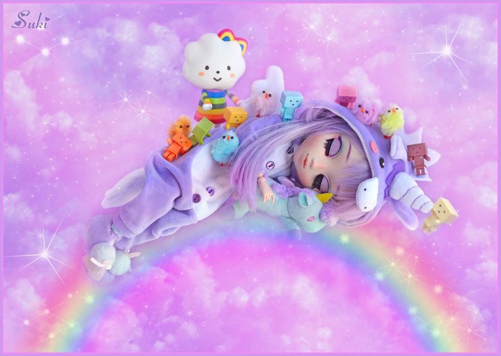 fond d 39 cran color illustration anime en train de dormir violet toiles des nuages. Black Bedroom Furniture Sets. Home Design Ideas