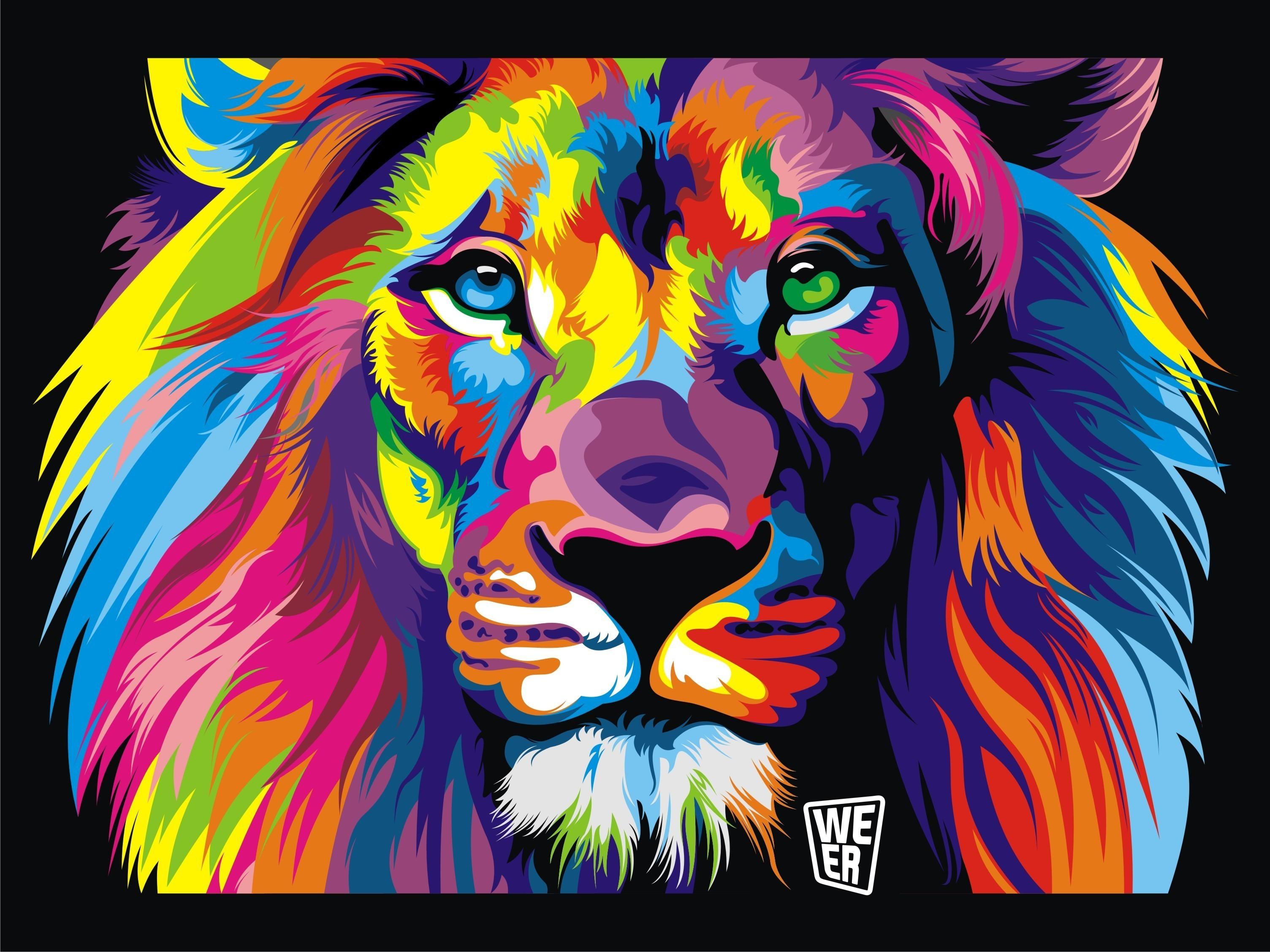 Wallpaper Colorful Illustration Digital Art Animals