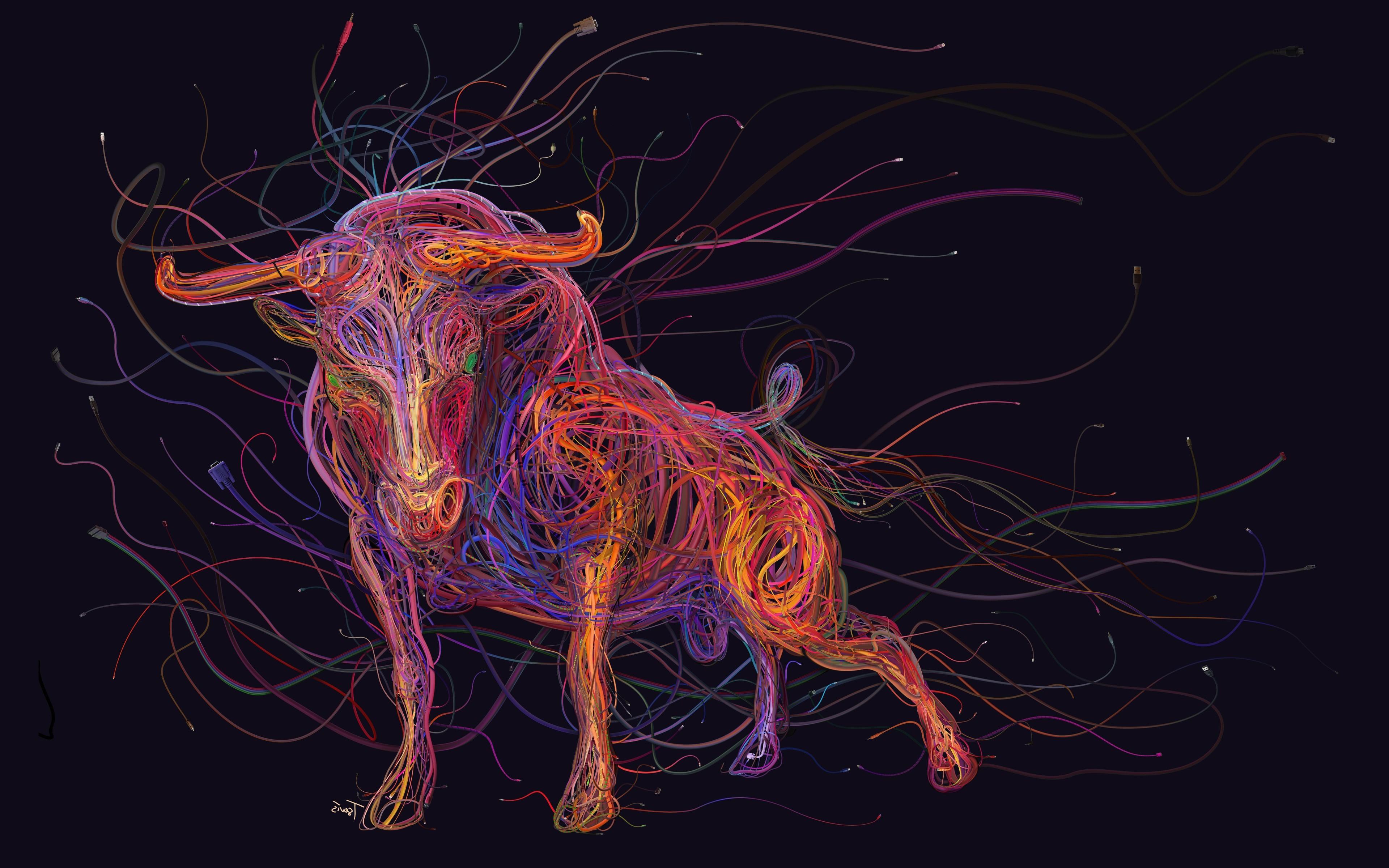 Sfondi Colorato Illustrazione Arte Digitale Animali Fili Usb