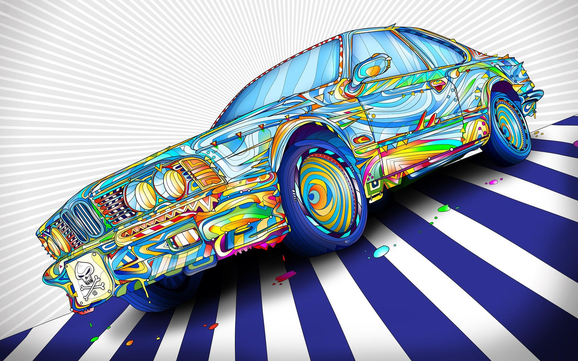Wallpaper colorful illustration digital art car bmw vehicle colorful illustration digital art car bmw vehicle artwork paint splatter lines psychedelic skull and bones wheels voltagebd Images