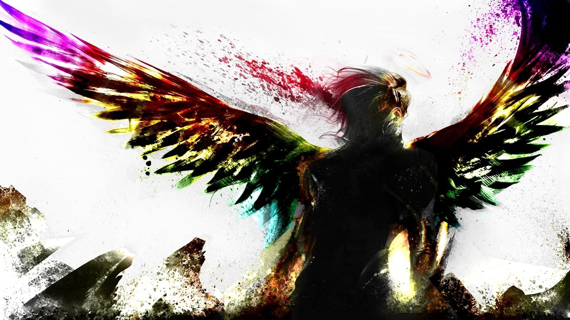 Colorful Illustration Digital Art Fantasy Wings Angel Artwork Bird Wing 1920x1080 Px Fictional Character
