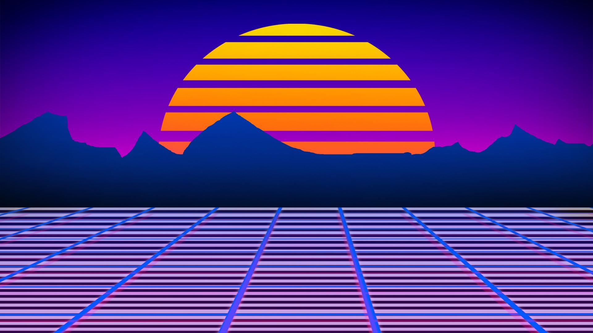 Colorful Illustration Digital Art Sunset Robot Sky Symmetry Skyline Skyscraper Retro Games Sun Horizon Grid 1980s
