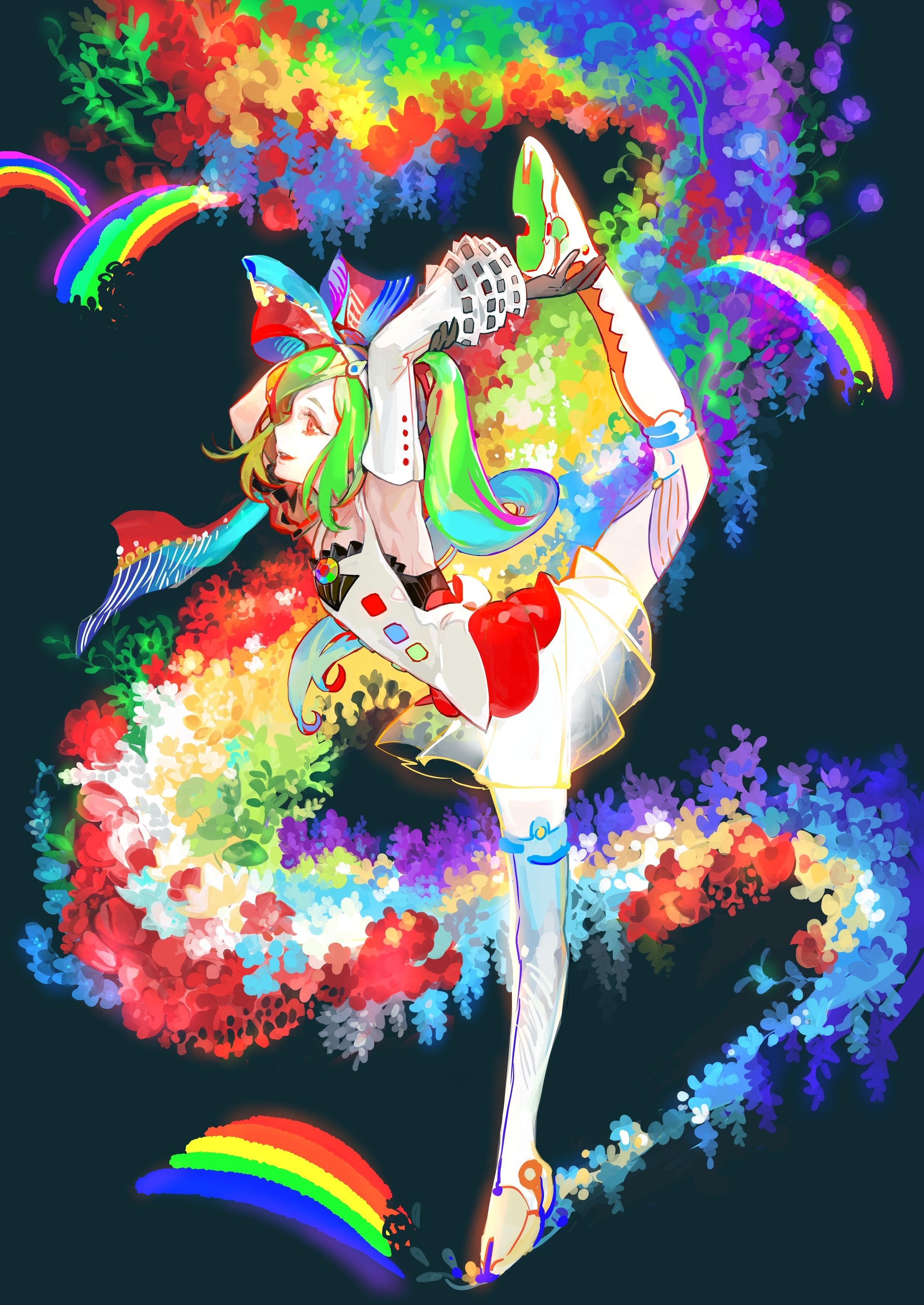 Colorful illustration long hair anime anime girls dress red eyes
