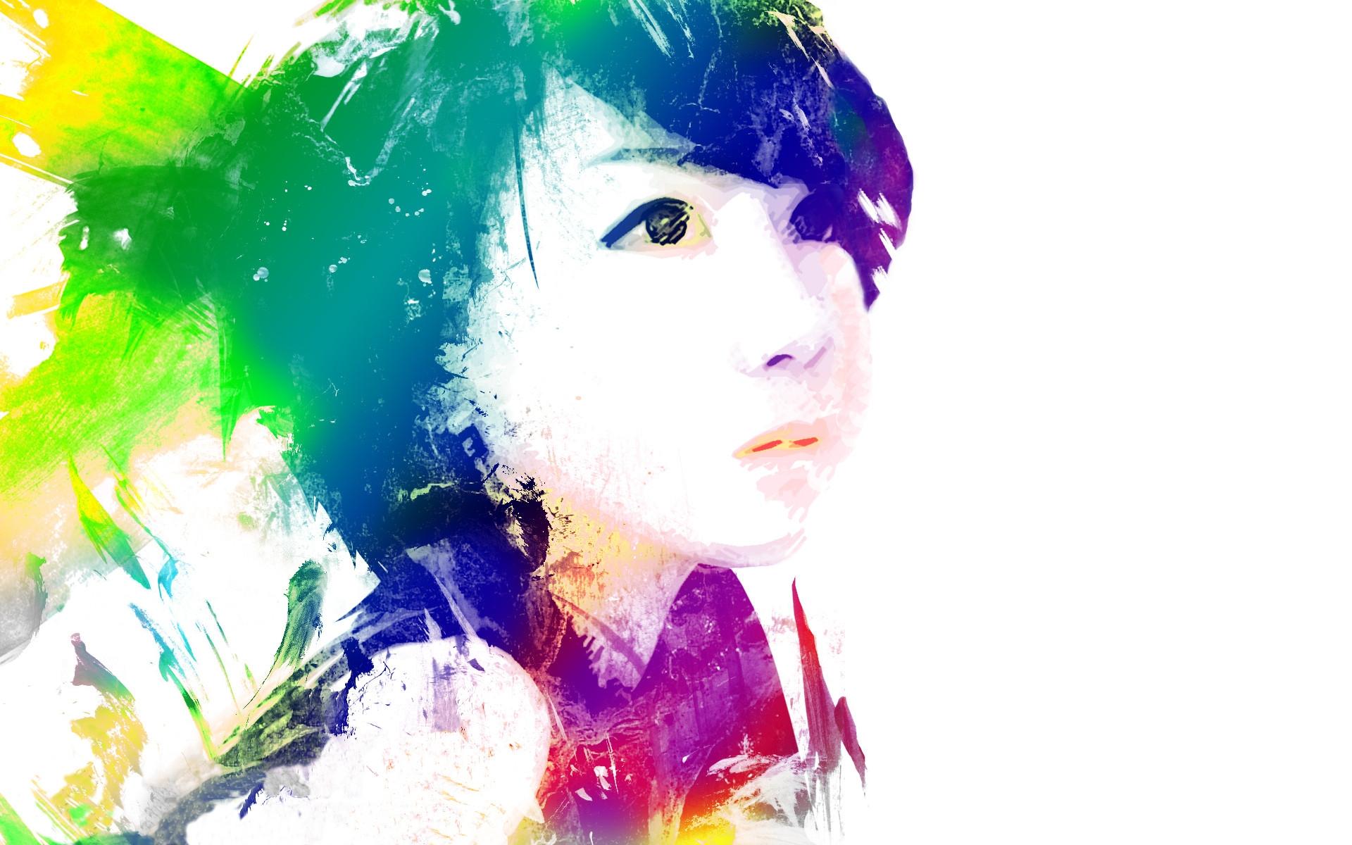 Masaüstü Renkli Illüstrasyon Portre Mor Siyah Saç Grafik