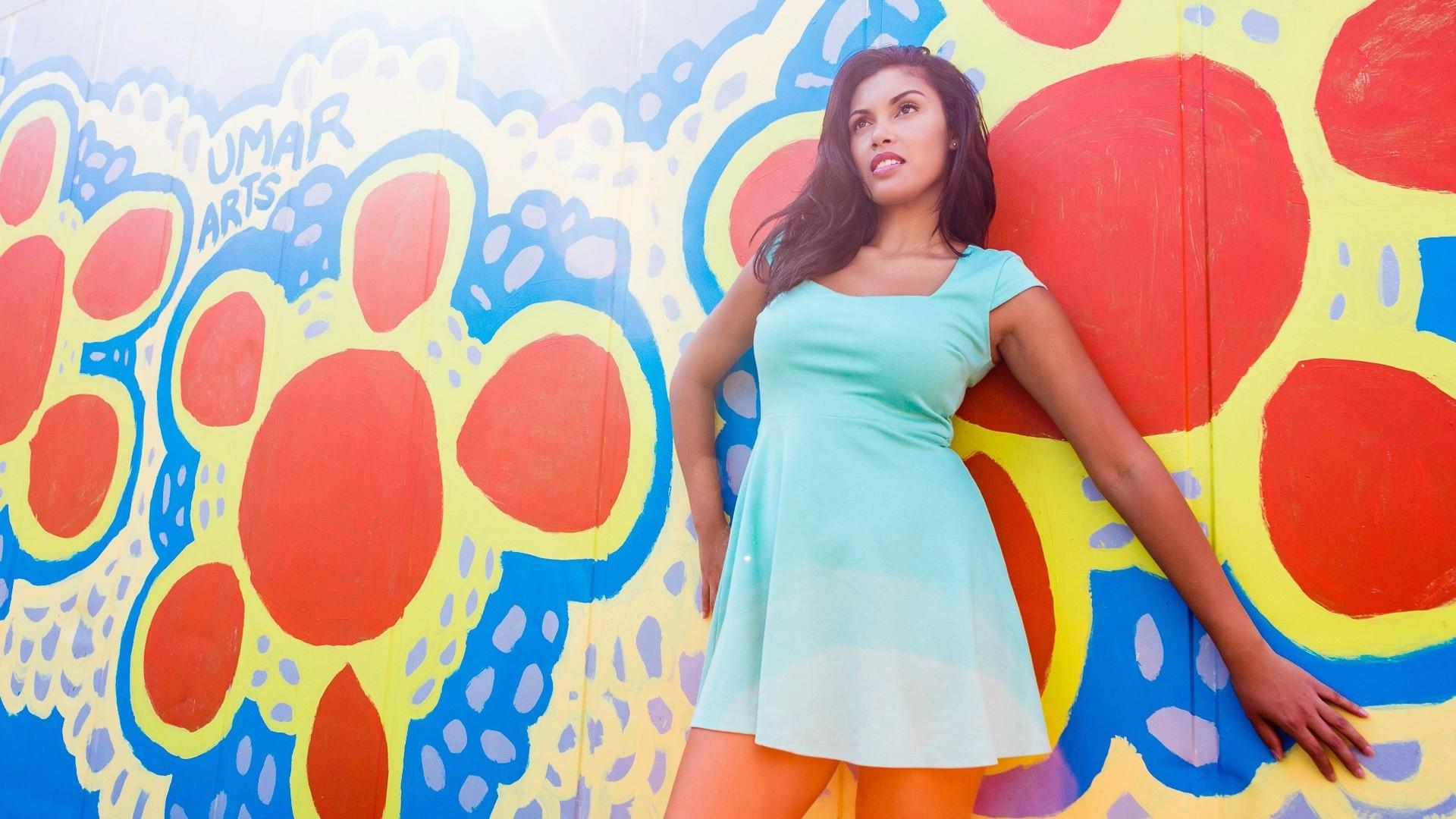 Wallpaper : colorful, illustration, women, model, minidress, wall ...