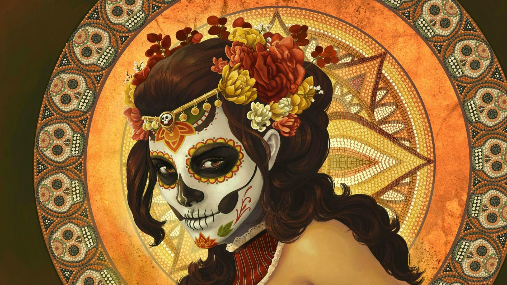 Colorful Painting Illustration Brunette Body Paint Curly Hair Flower In Skull Dia De Los Muertos