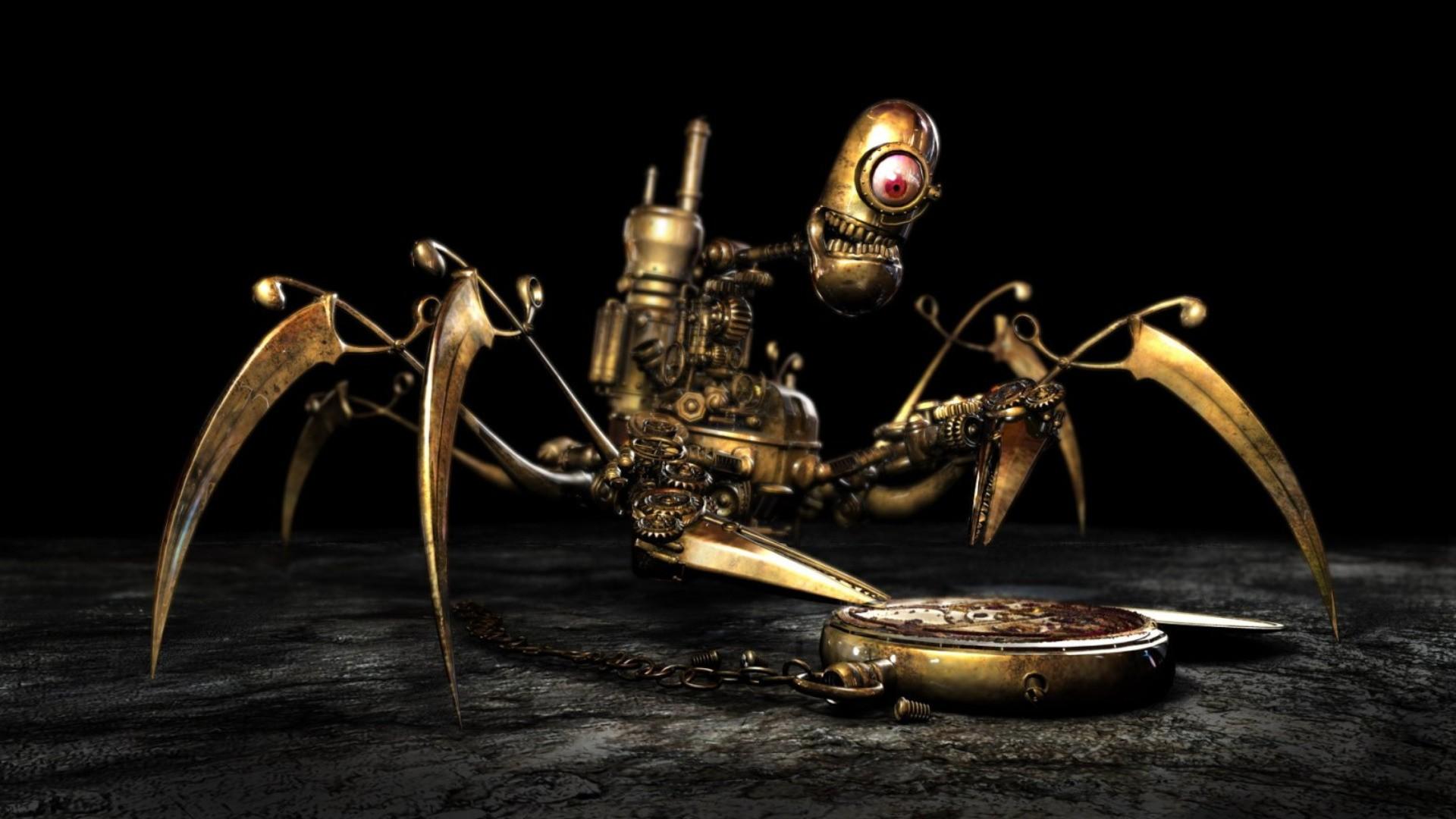 Fondos De Pantalla Horripilante Robot Steampunk Oro