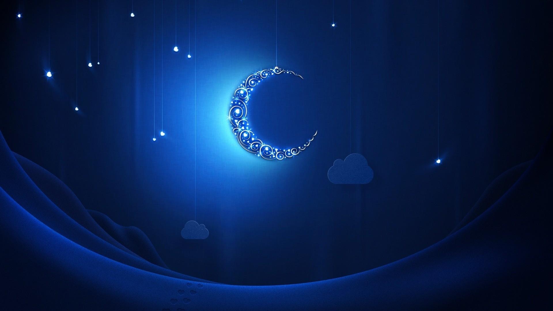 crescent moon light shiny neon
