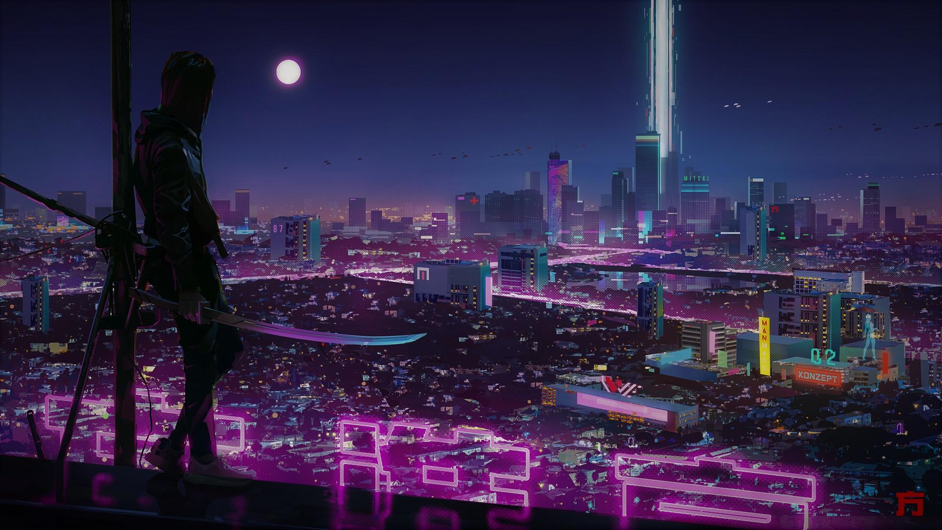 Wallpaper Cyber Neon City Technology Futuristic Digital 1920x1080 Michael997 1767067 Hd Wallpapers Wallhere