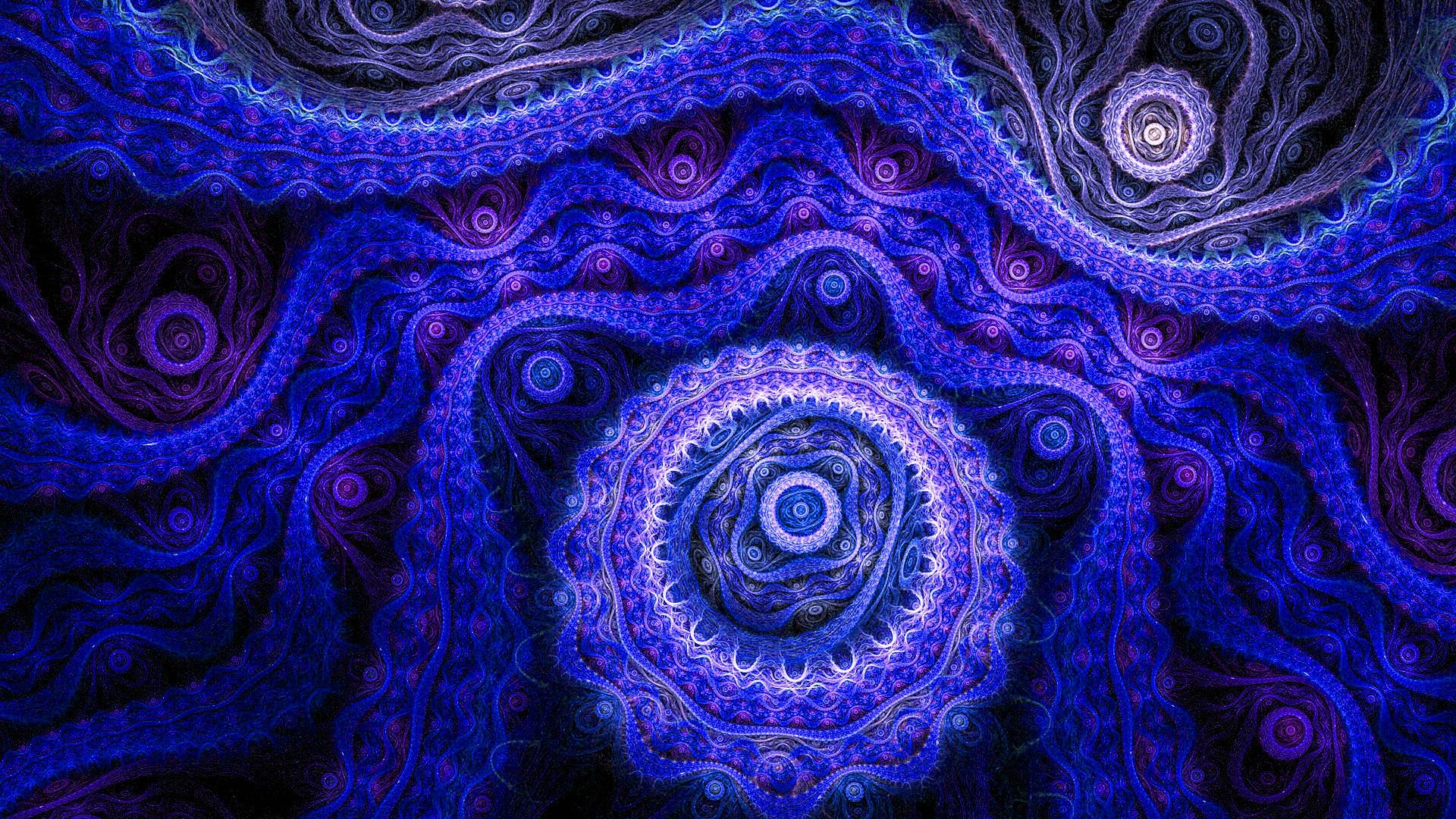 Dark Abstract Artwork Purple Violet Symmetry Blue Pattern Circle Kaleidoscope ART Textile Computer Wallpaper Fractal Art