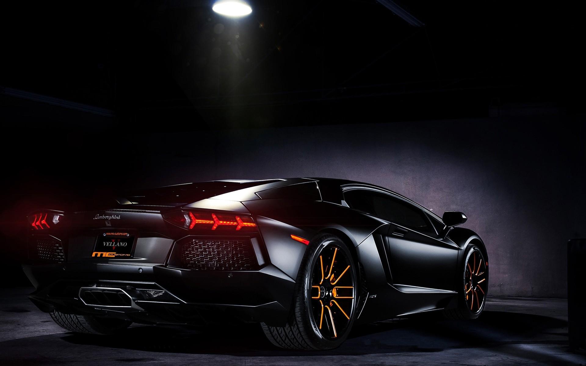 Wallpaper Dark Lamborghini Aventador Sports Car Performance