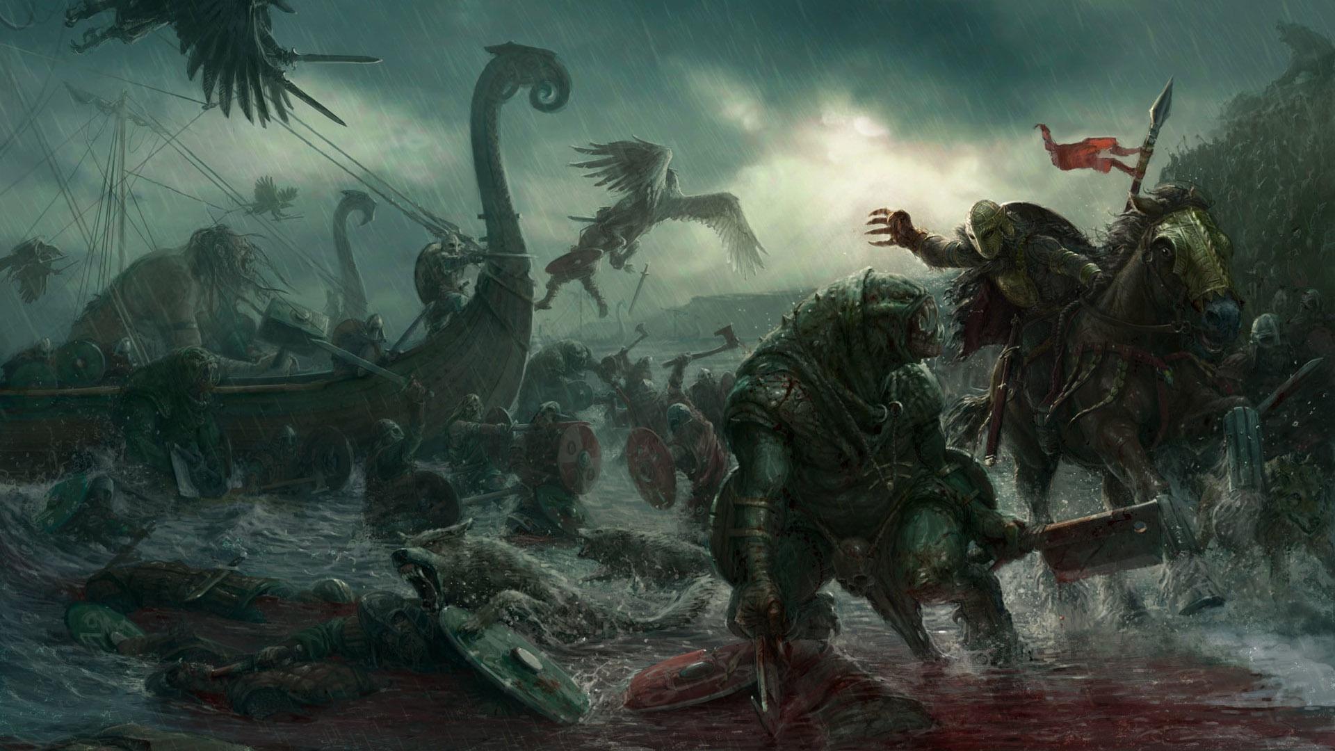 Wallpaper Dark Fantasy Battle Creature Artwork Fantasy Art