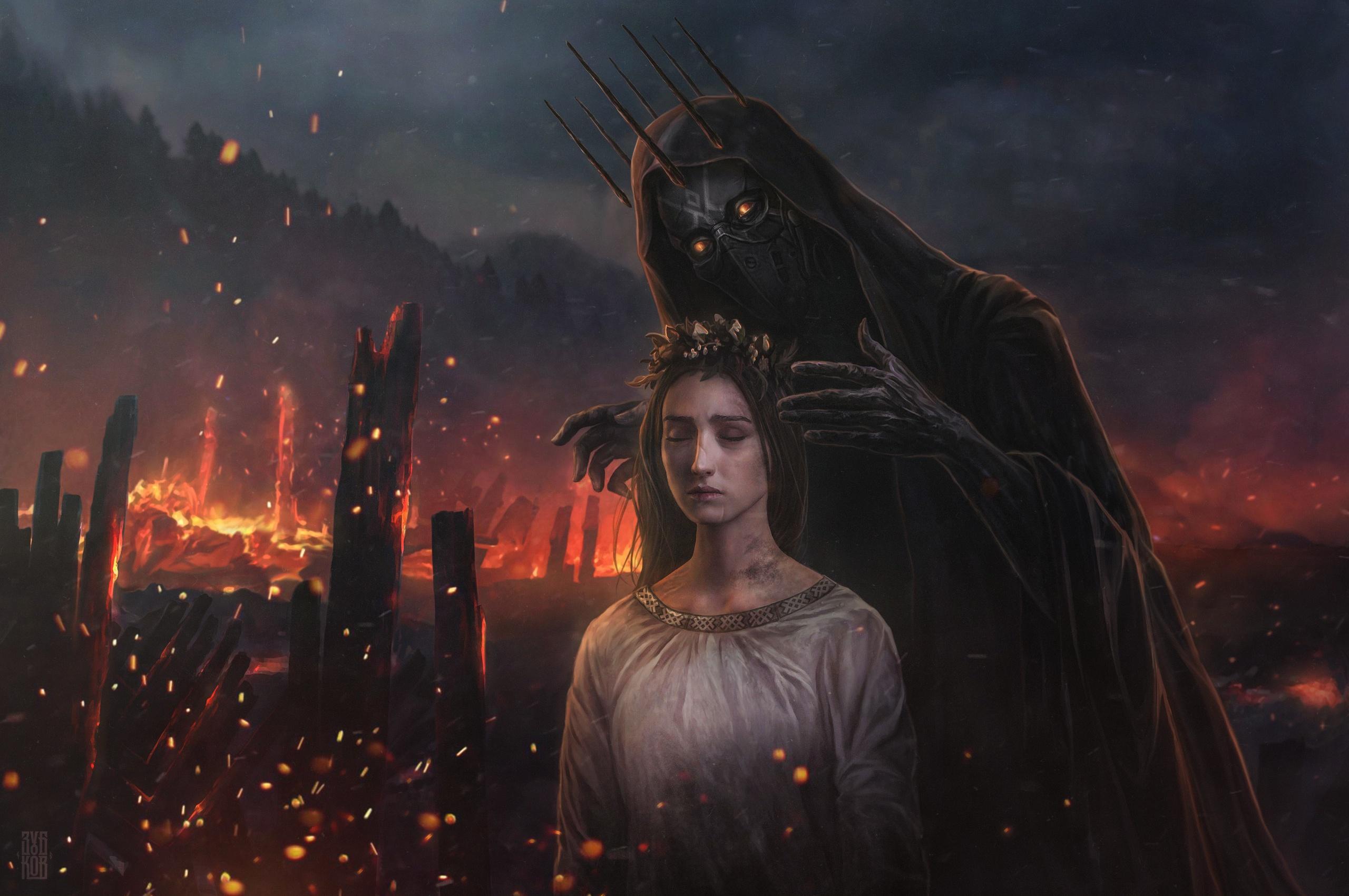 Wallpaper Dark Fantasy Fantasy Art Fantasy Girl Demon Fire